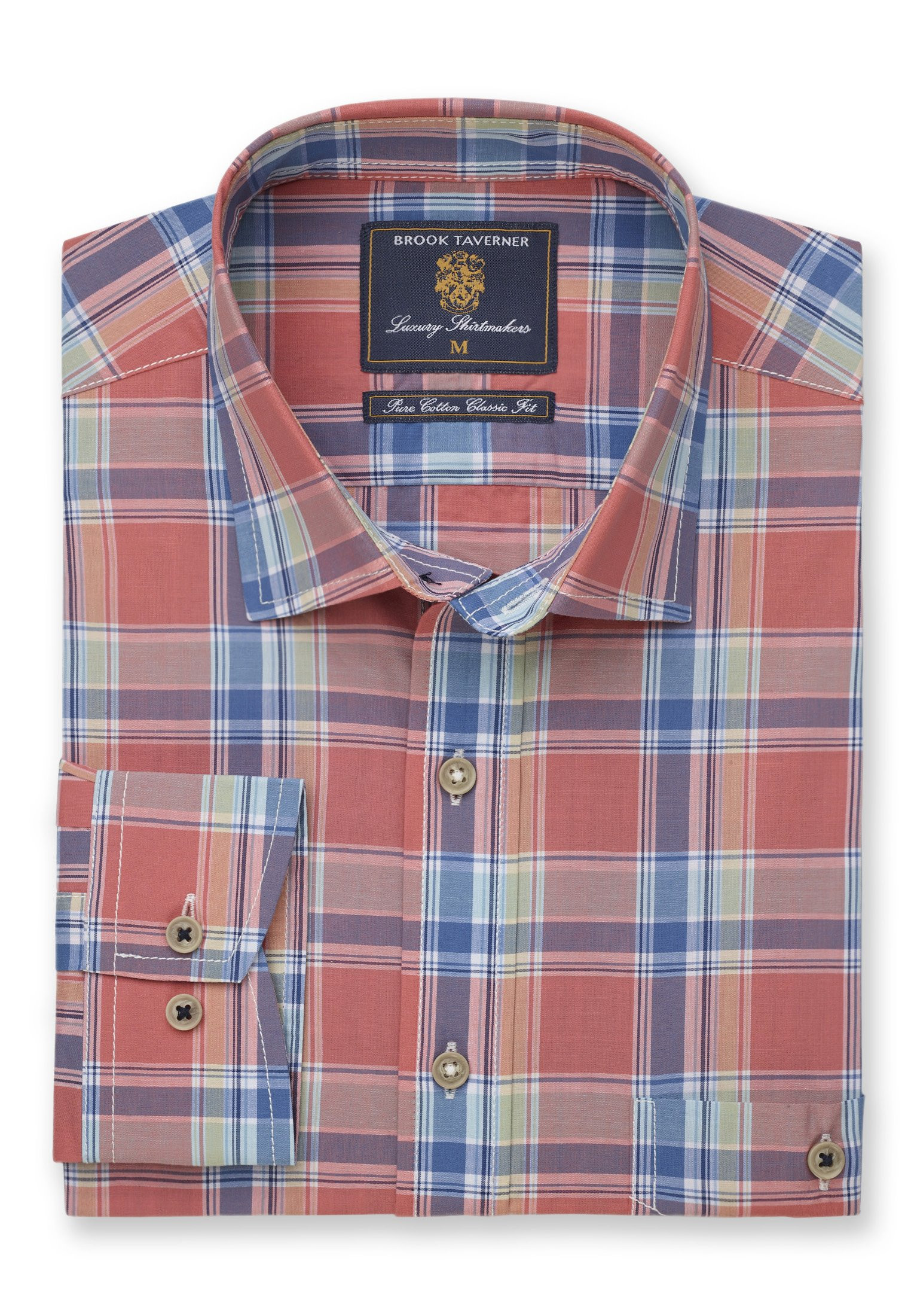 Long and Short Sleeve Apricot, Blue and Corn Check Classic Fit Shirt