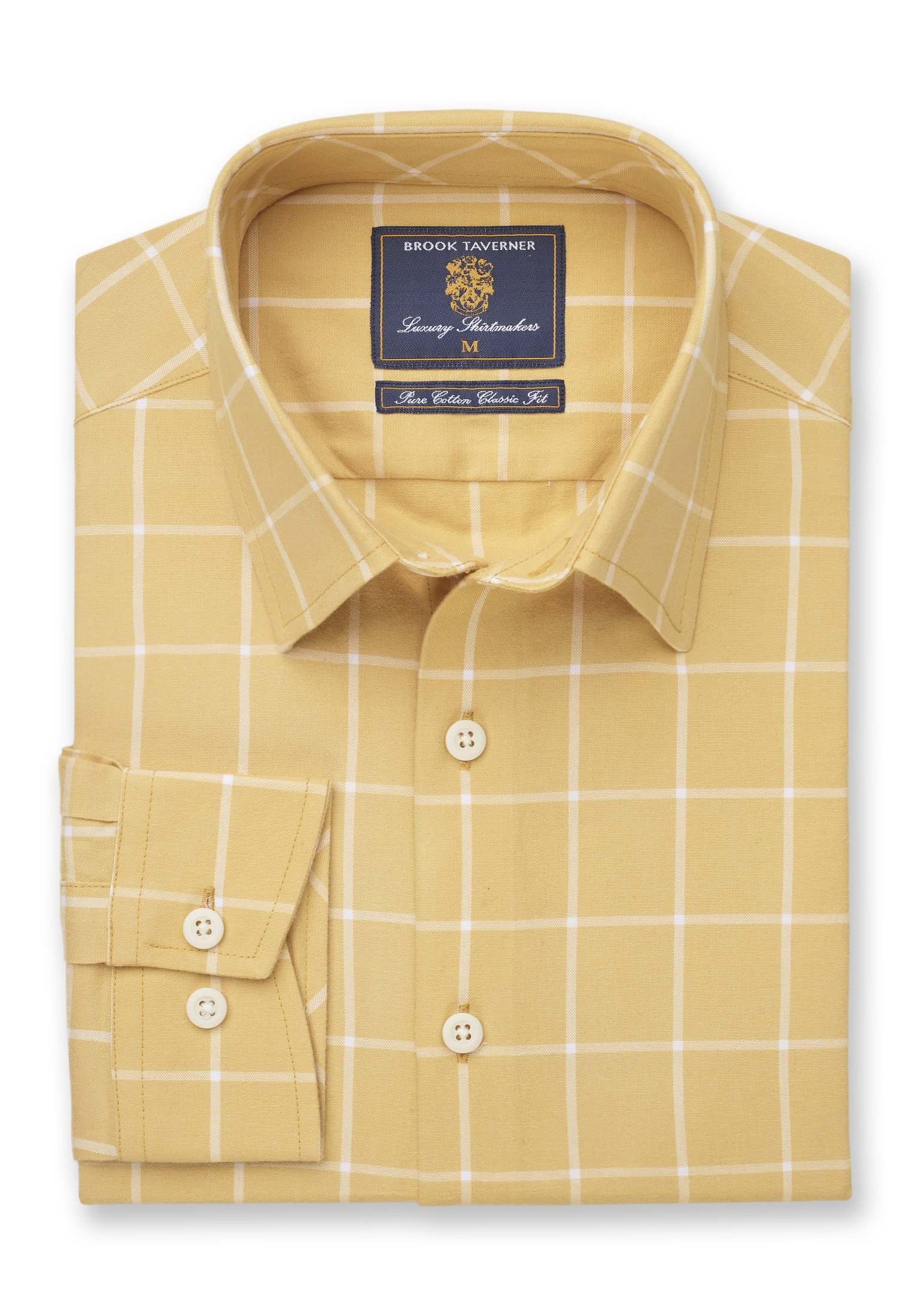 Classic and Tailored Fit Lemon Grid Check Shirt