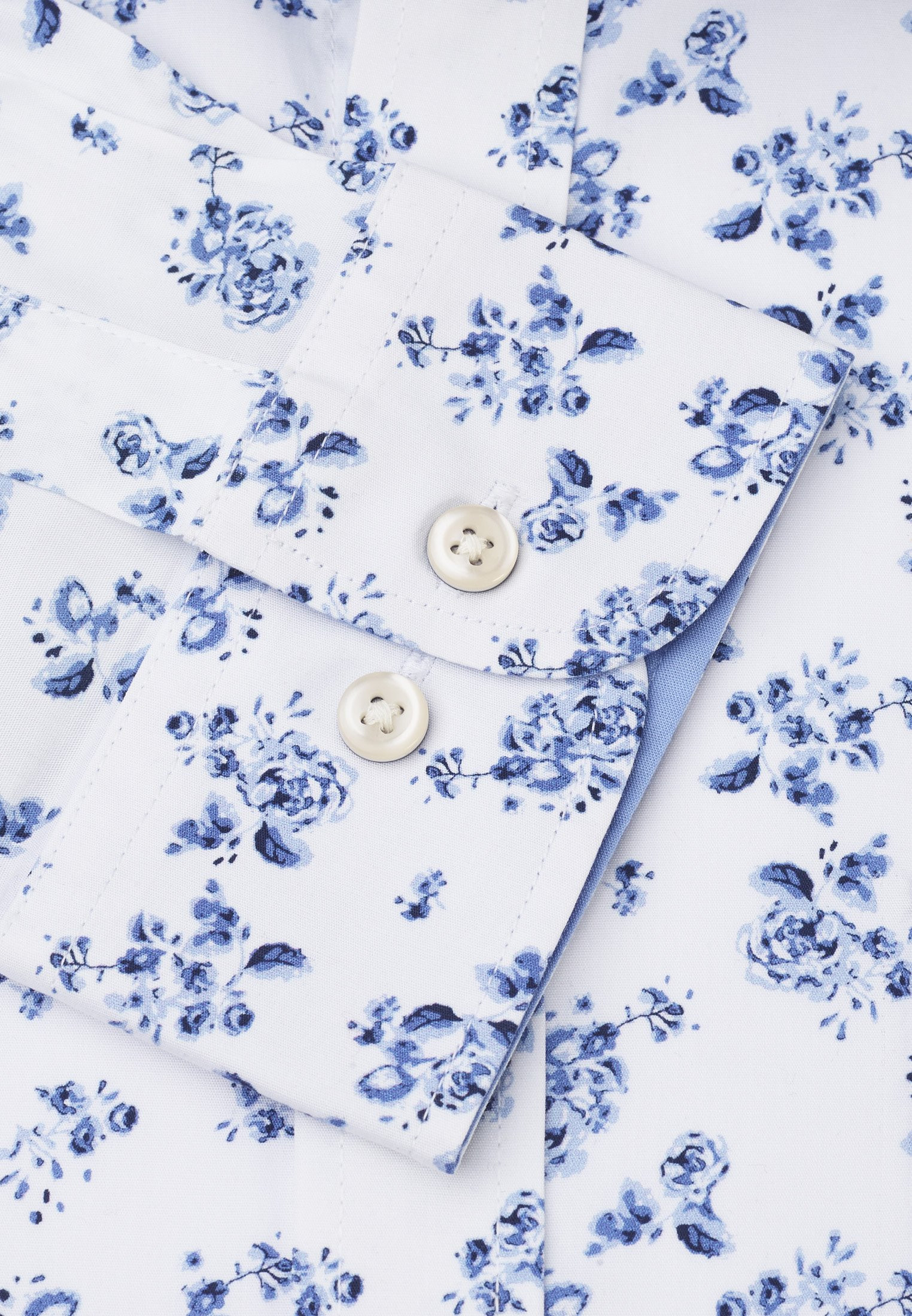 Classic Fit Business Casual Navy Floral Print Shirt