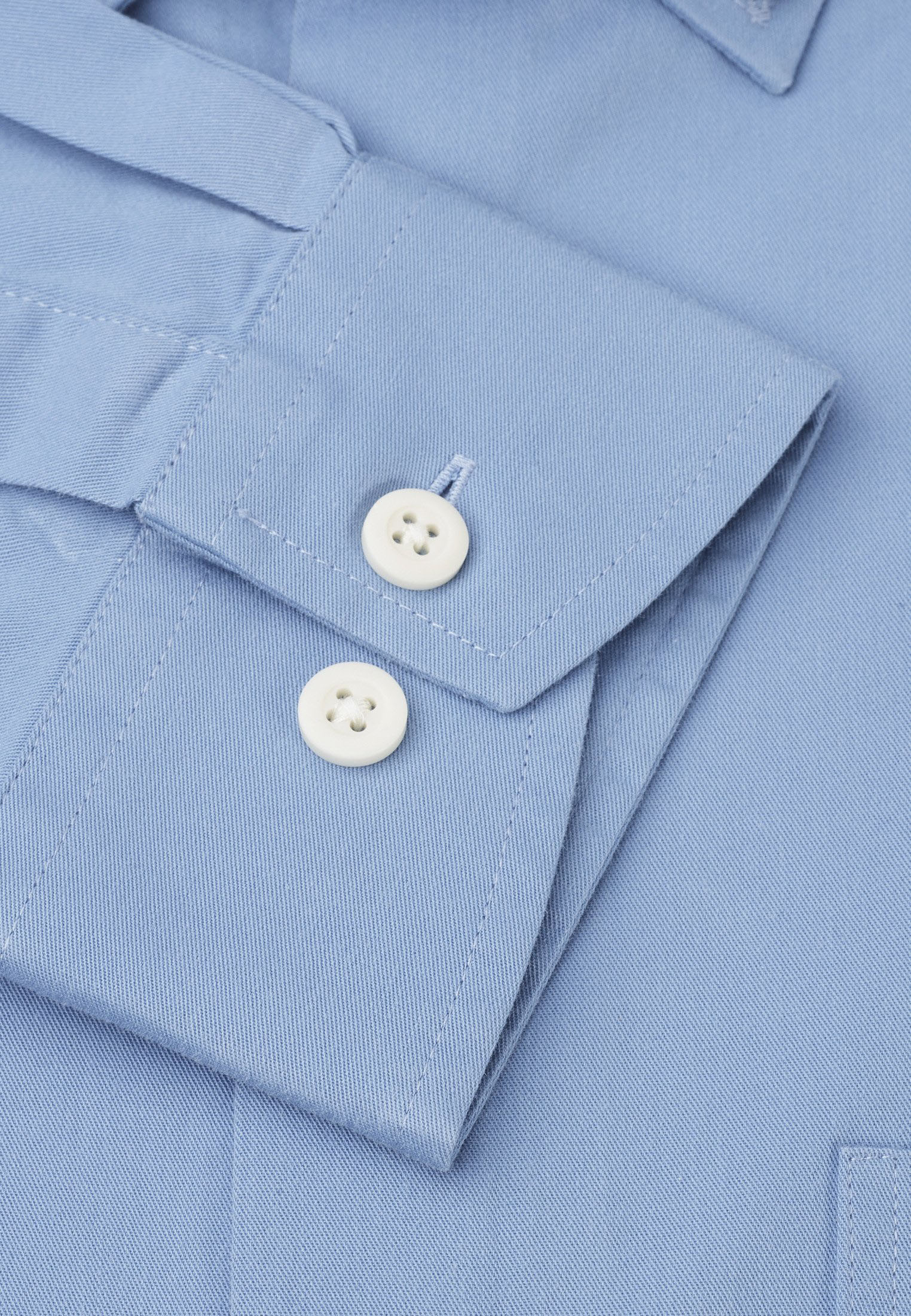 Classic and Tailored Fit Sky Blue Garment Washed Twill Shirt