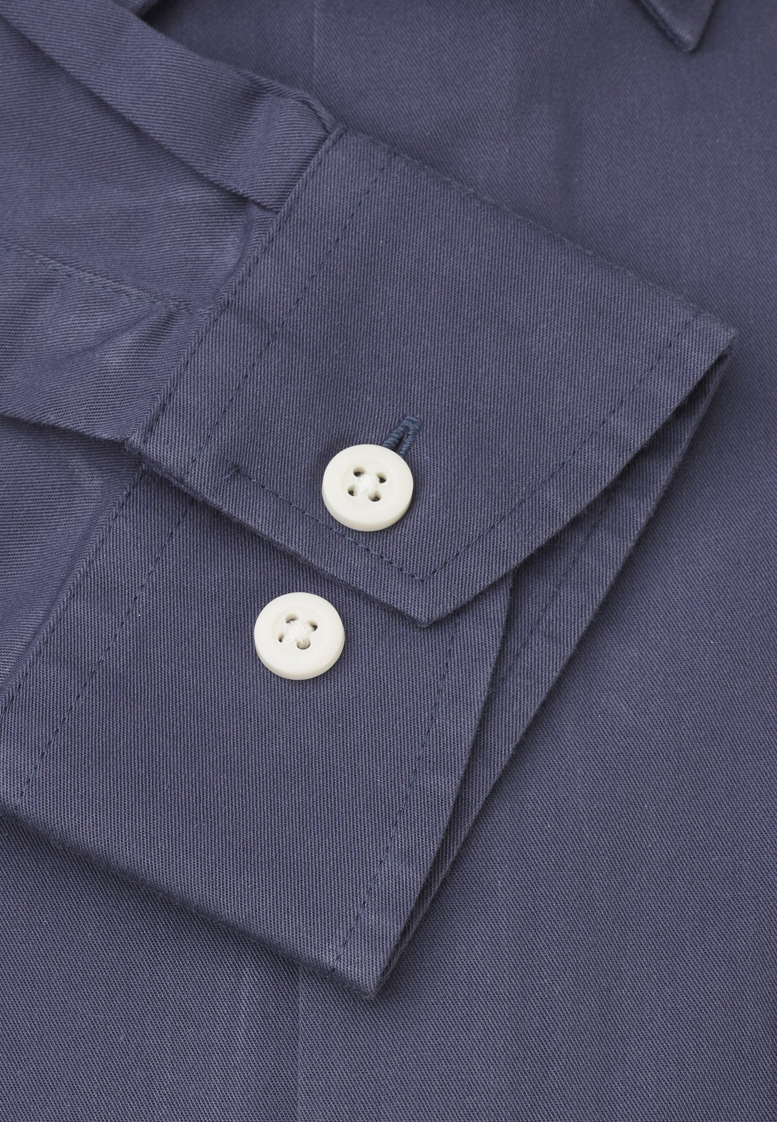 Classic and Tailored Fit Navy Garment Washed Twill Shirt