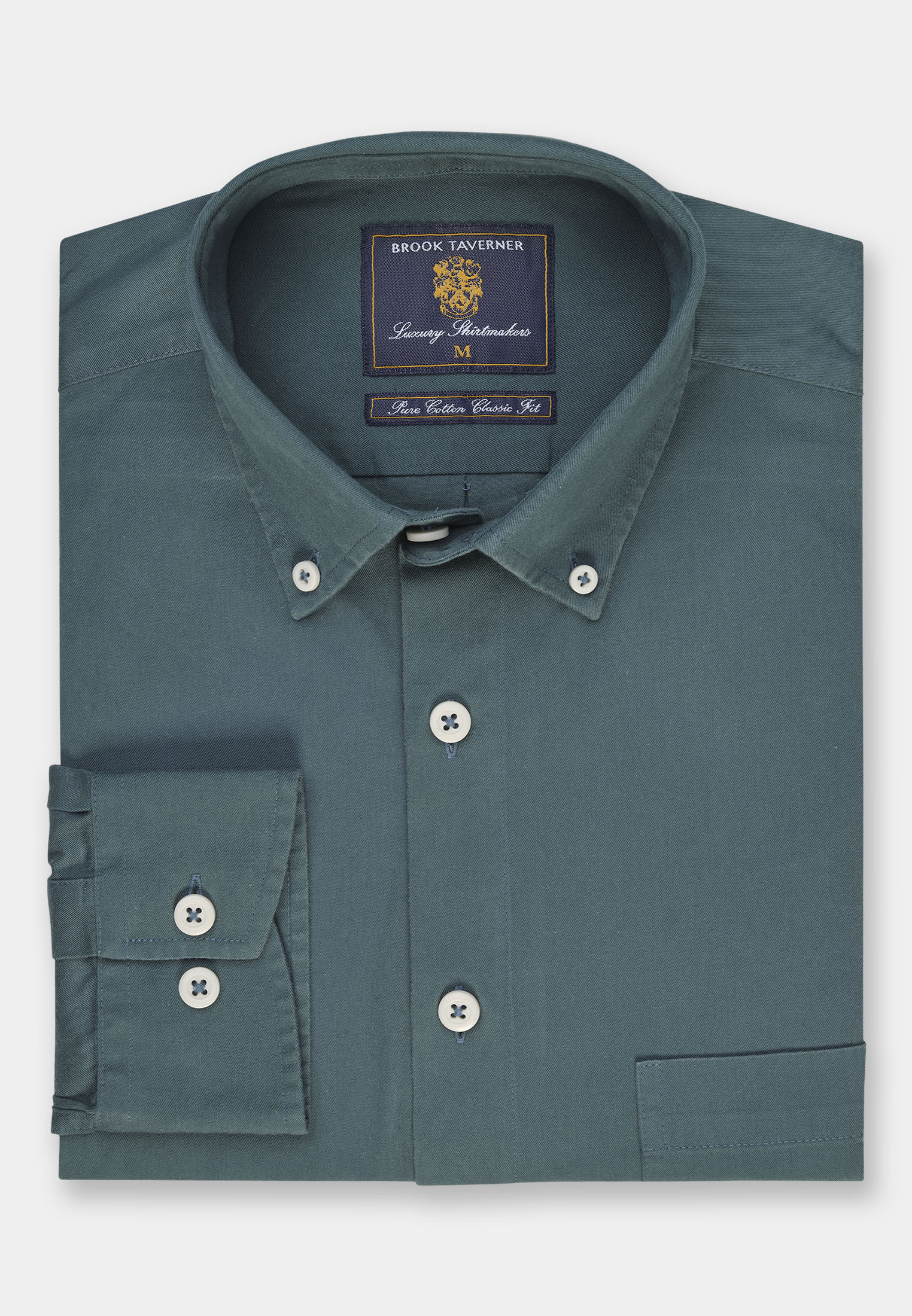 Classic and Tailored Fit Fern Garment Washed Twill Shirt