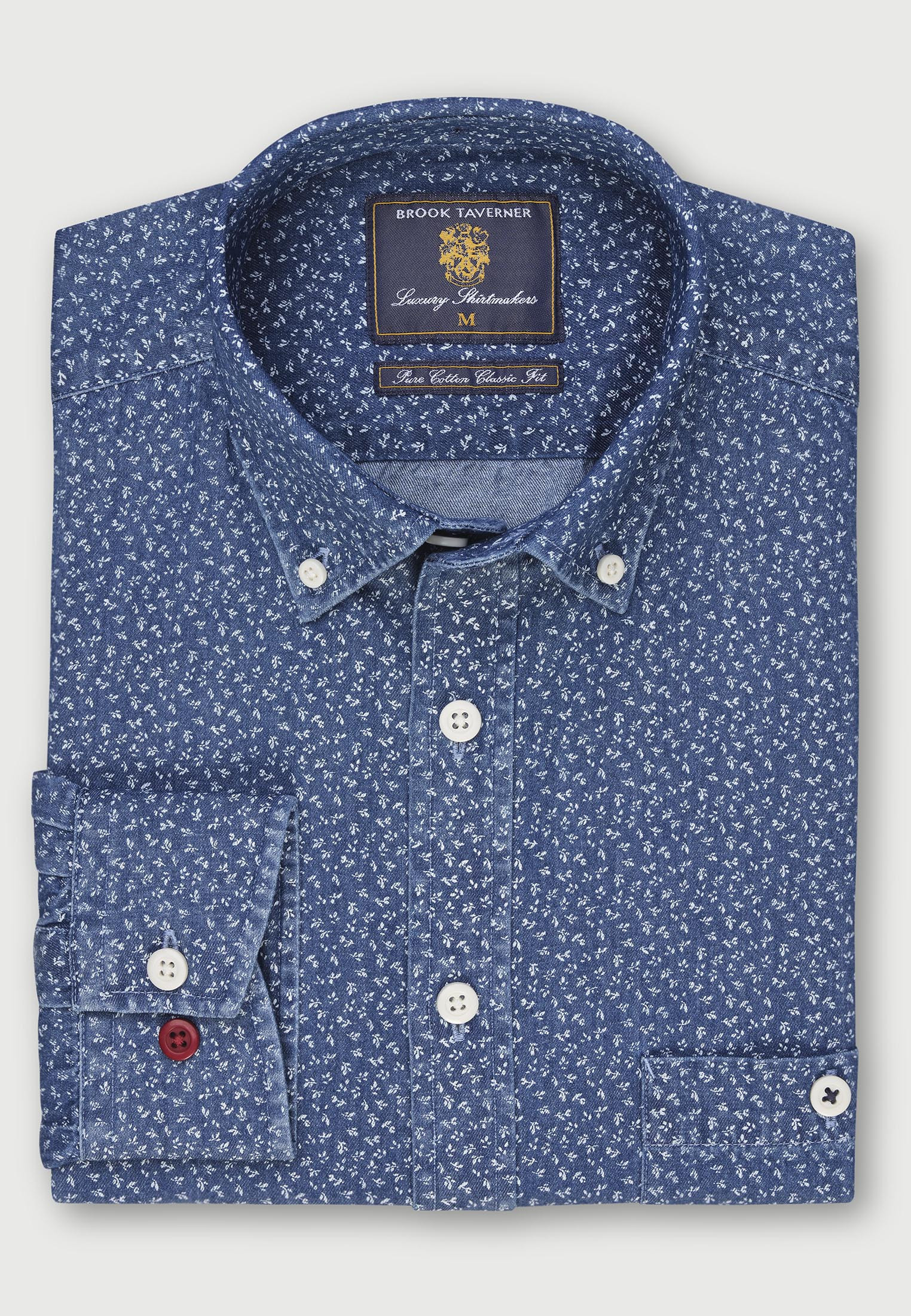 Classic and Tailored Fit Mid Blue with All Over Floral Print 'Super Soft' Chambray Shirt