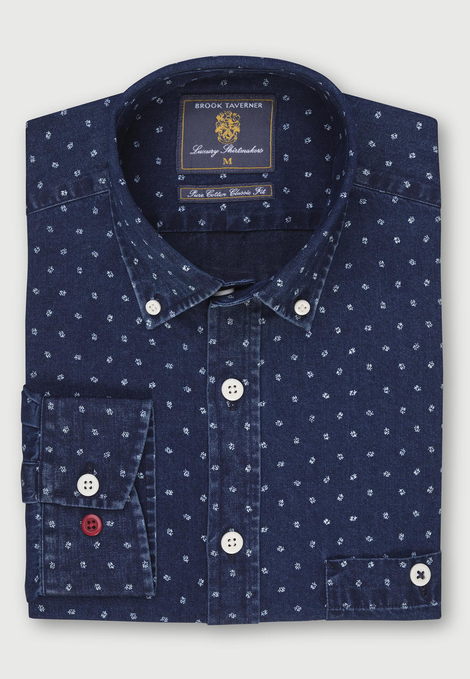 Classic and Tailored Fit Navy with Neat Flower Print 'Super Soft' Chambray Shirt