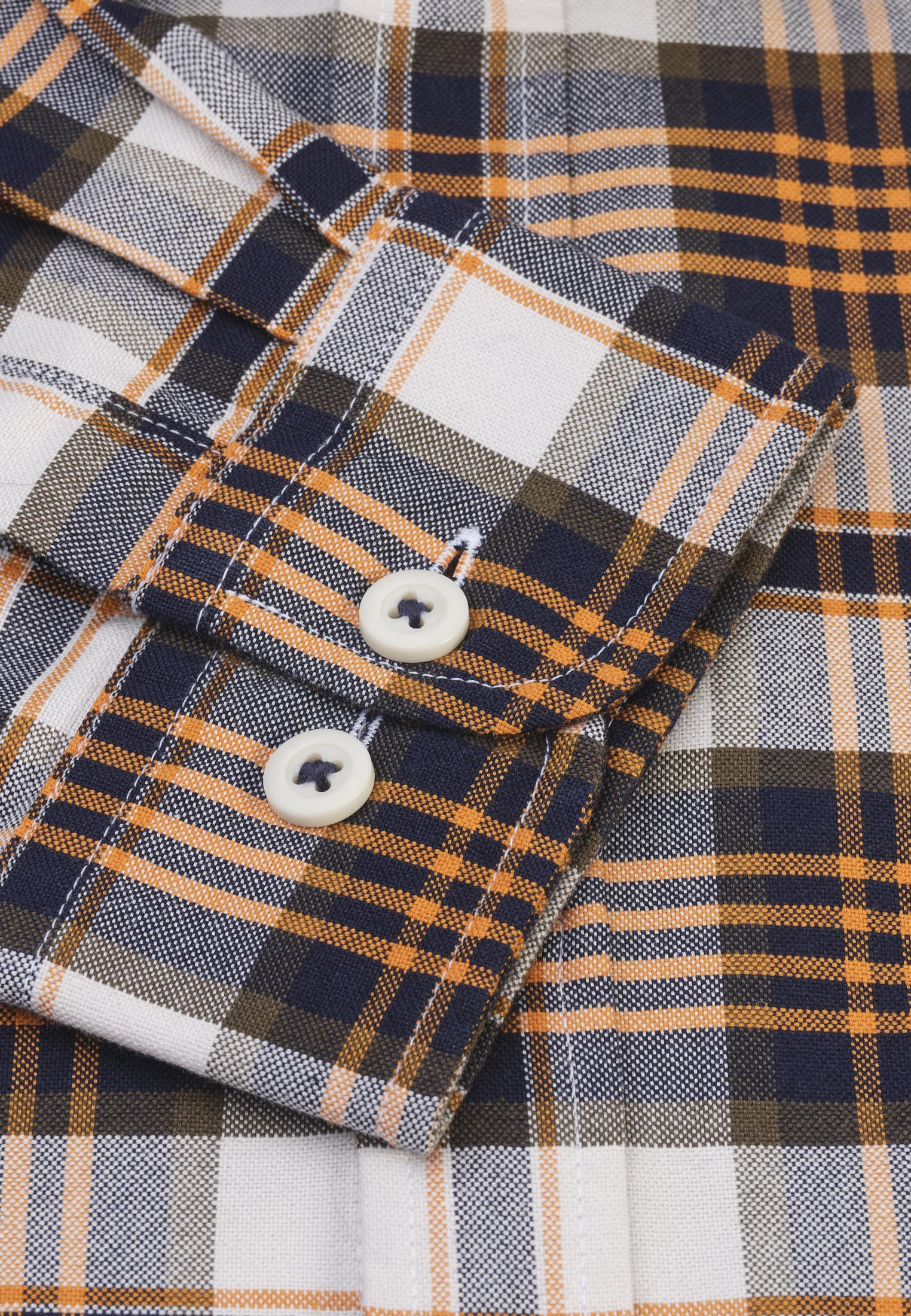 Classic and Tailored Fit Winter White with Copper and Charcoal Overcheck Washed Cotton Oxford Shirt