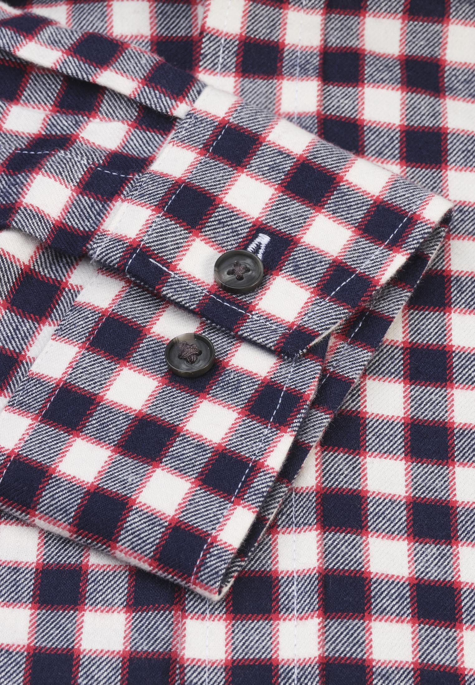 Navy and Winter White with Red Overcheck Brushed Cotton Shirt