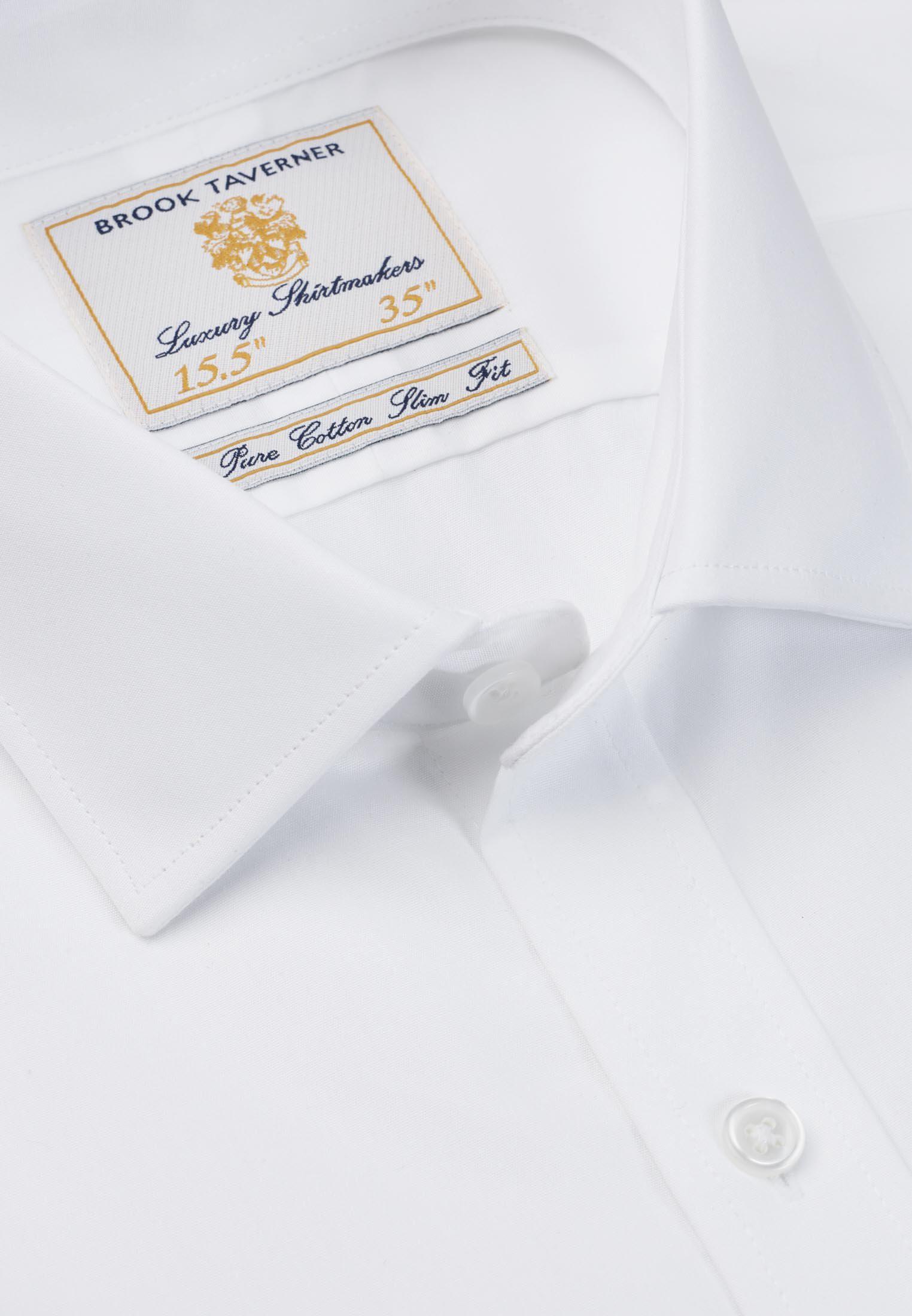 Single and Double Cuff White Poplin 100% Easycare Cotton Shirt
