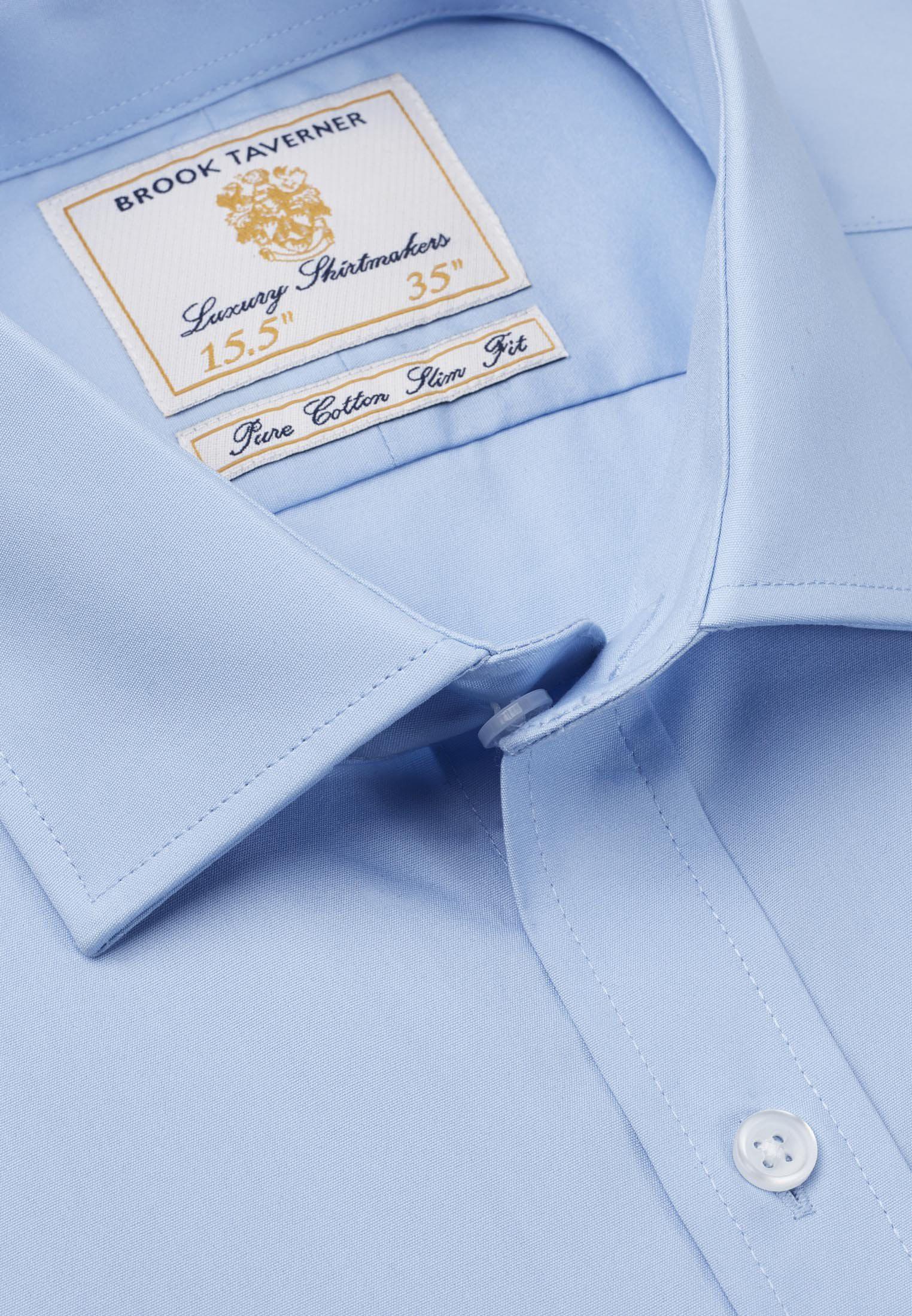 Single and Double Cuff Blue Poplin 100% Easycare Cotton Shirt