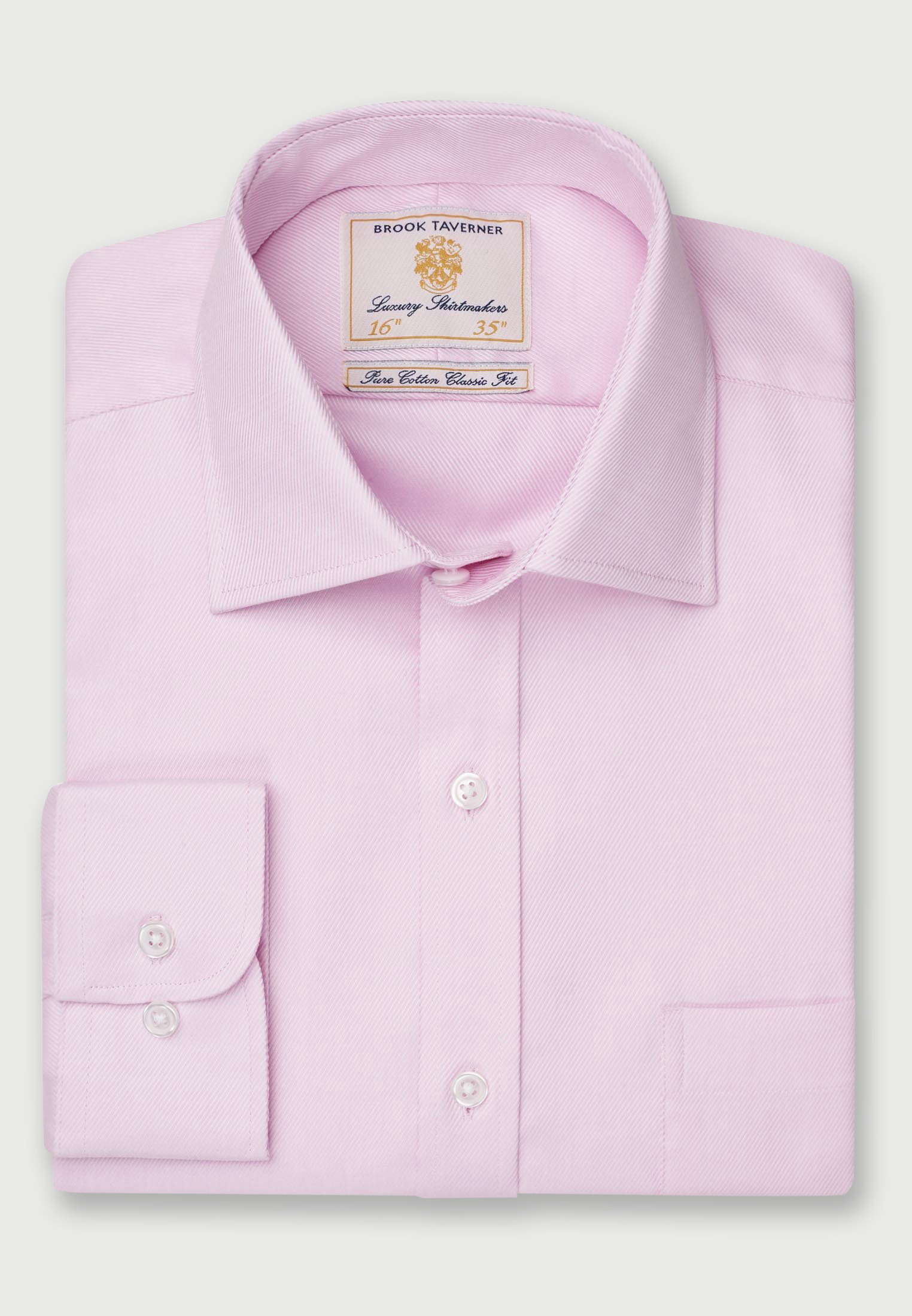 Single and Double Cuff Pink Royal Twill 100% Easycare Cotton Shirt