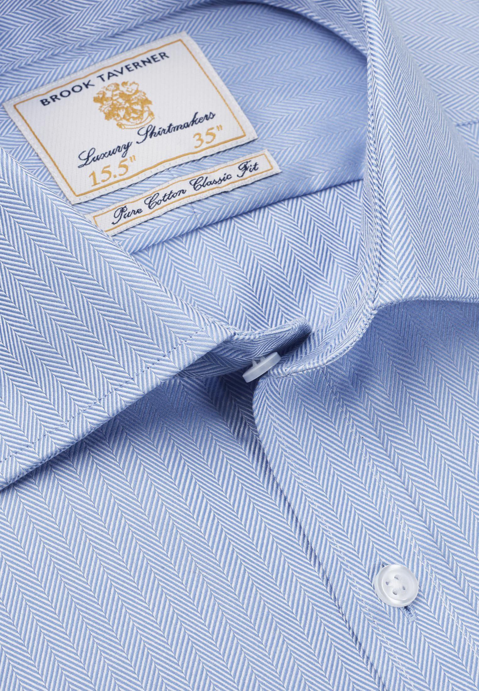 Single and Double Cuff Blue Herringbone 100% Easycare Cotton Shirt