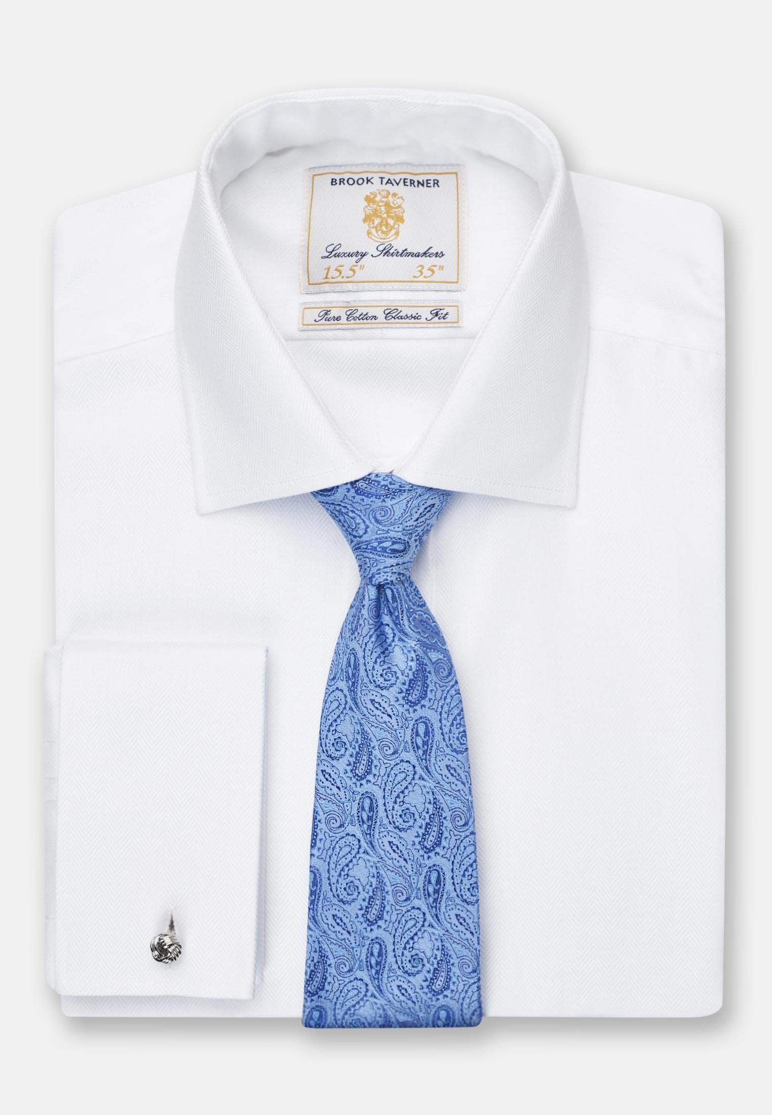 Single and Double Cuff White Herringbone 100% Easycare Cotton Shirt