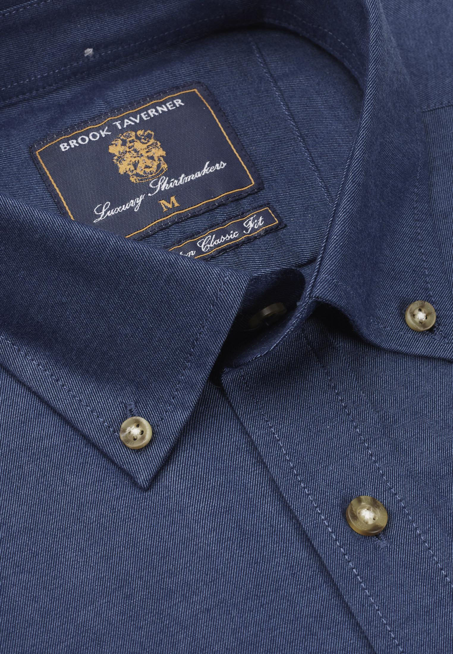 Plain Navy Twill Peached Cotton Button Down Collar Shirt