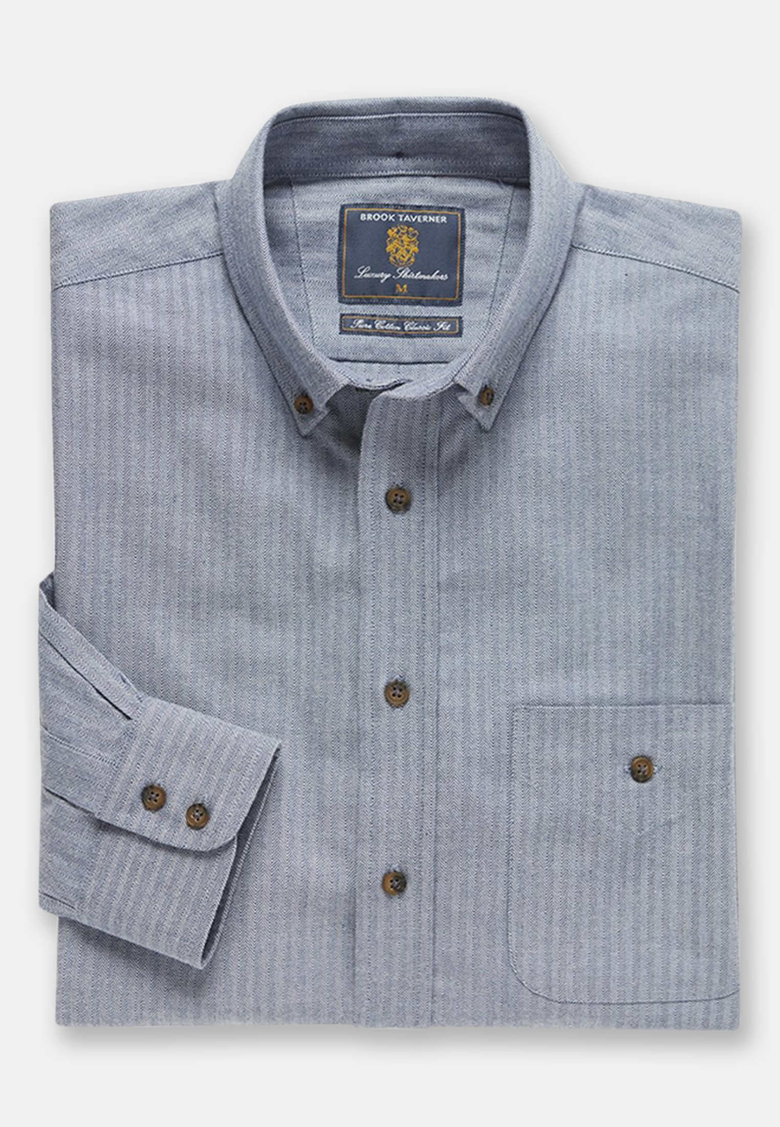 Blue Herringbone Brushed Flannel 'Soft Touch' Cotton Shirt