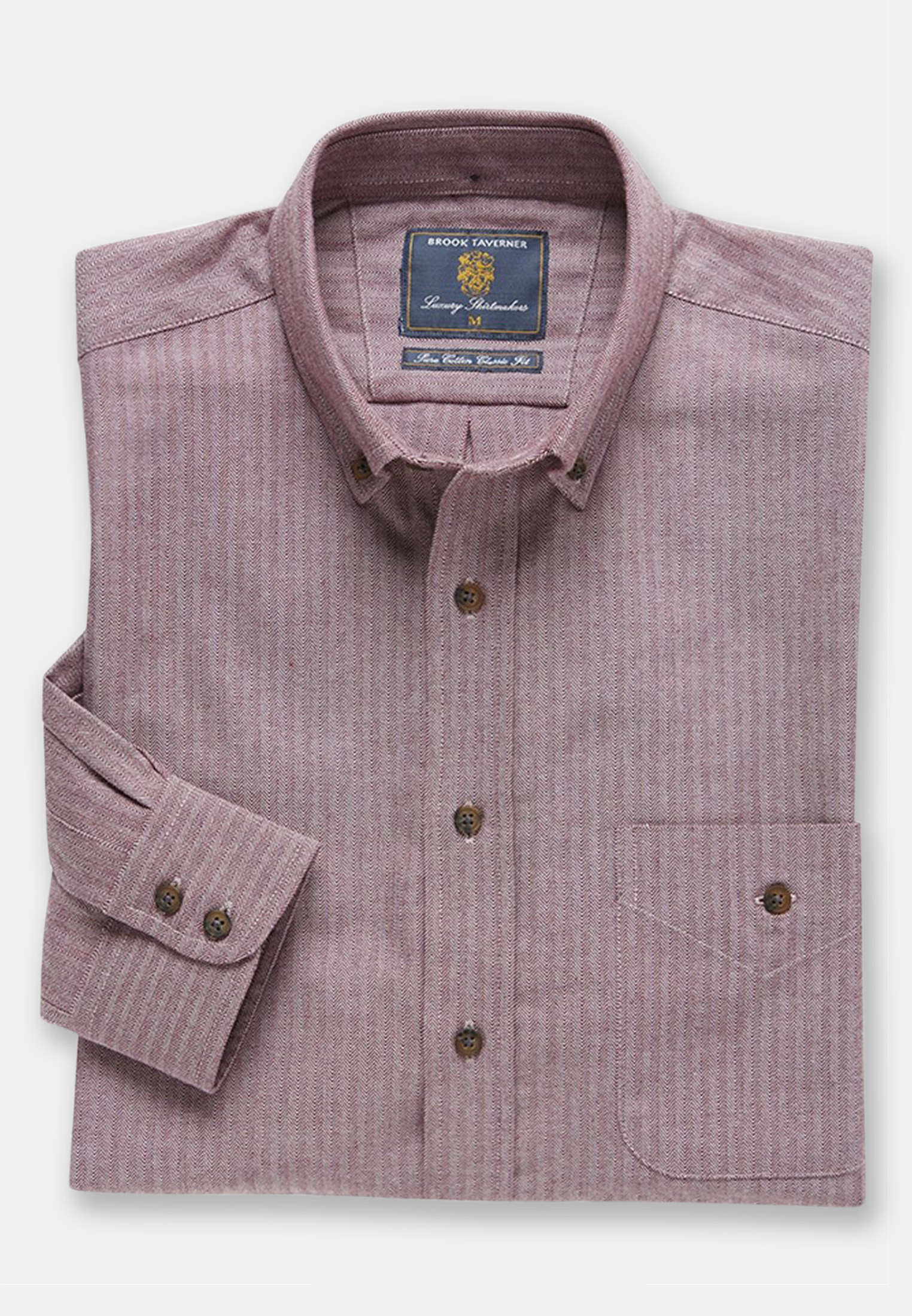Berry Herringbone Brushed Flannel 'Soft Touch' Cotton Shirt