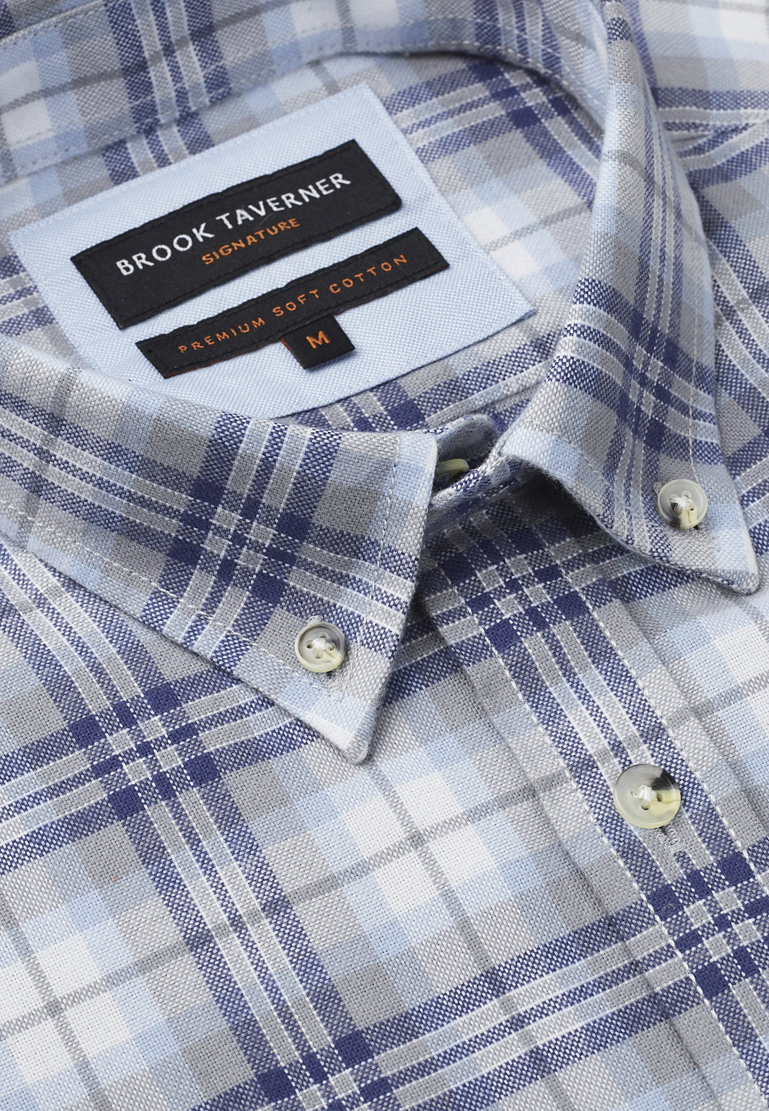 Tailored Fit Long Sleeve Navy, Grey And Sky Check Soft Touch Oxford Button Down Collar Shirt