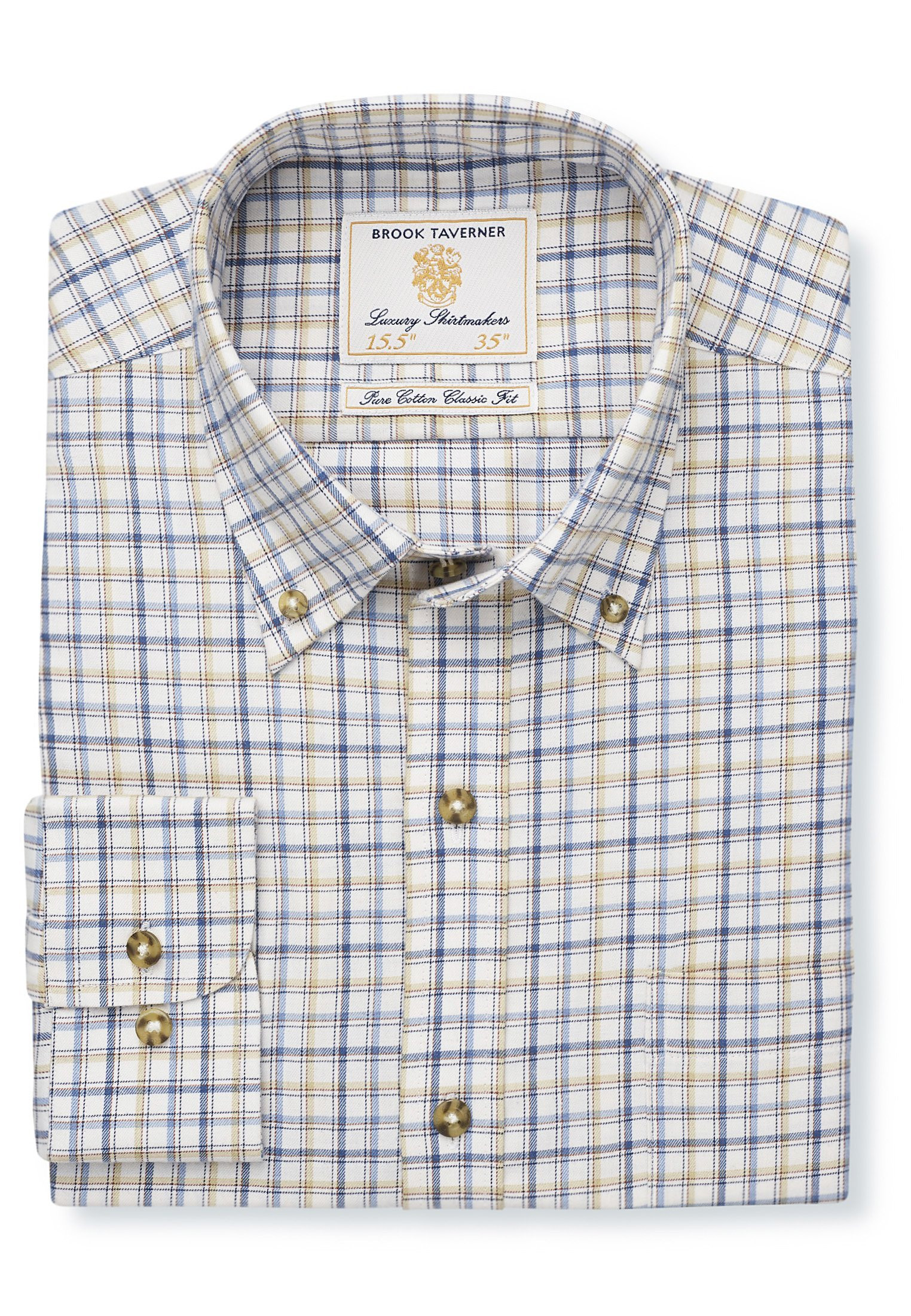 """36.5"""" Sleeve Navy, Blue And Beige Check Single Cuff Shirt"""