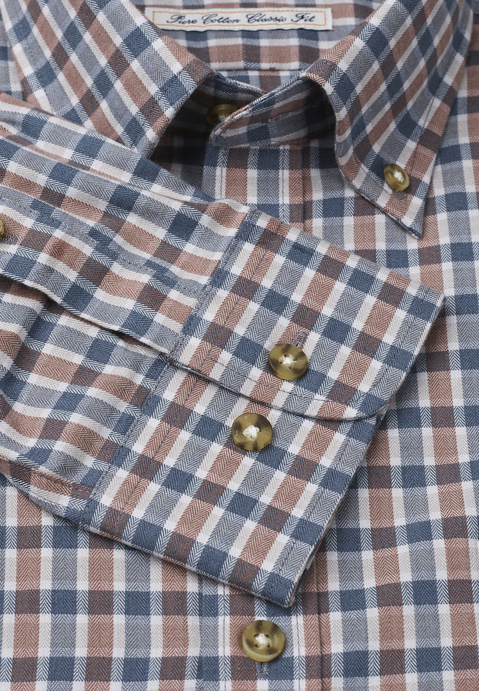 "35"" Sleeve Mocca And Charcoal Check Single Cuff Shirt"