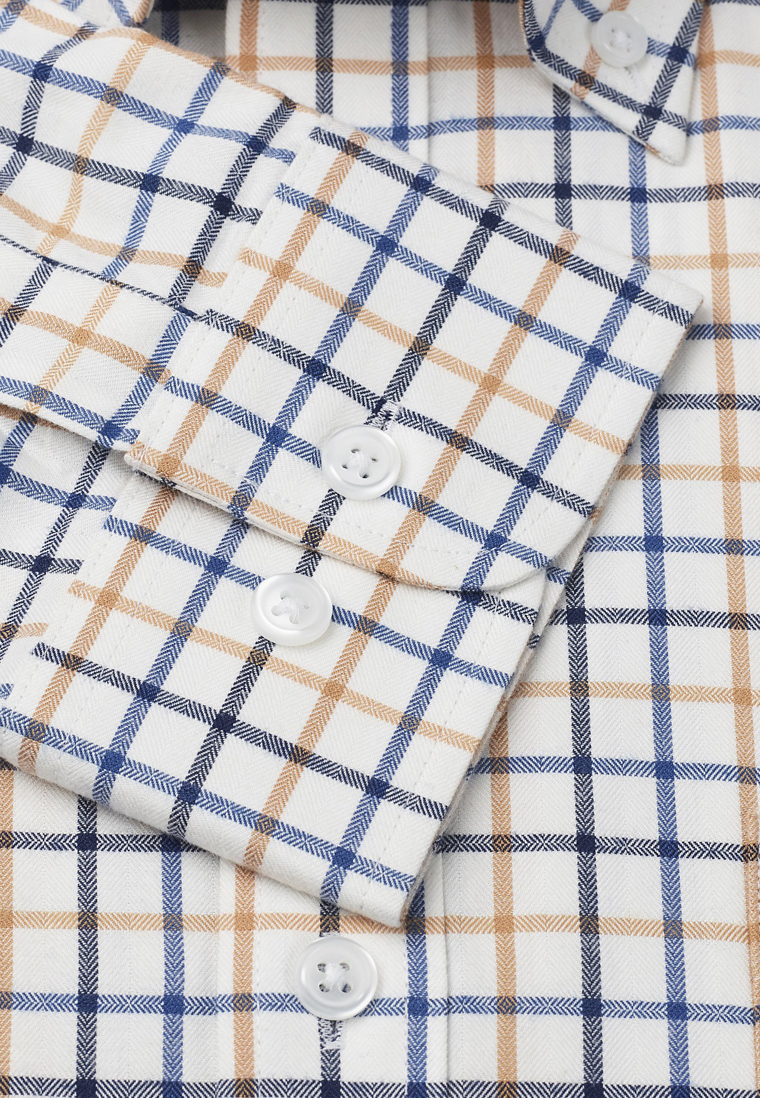 Navy, Blue And Gold Check Single Cuff Shirt