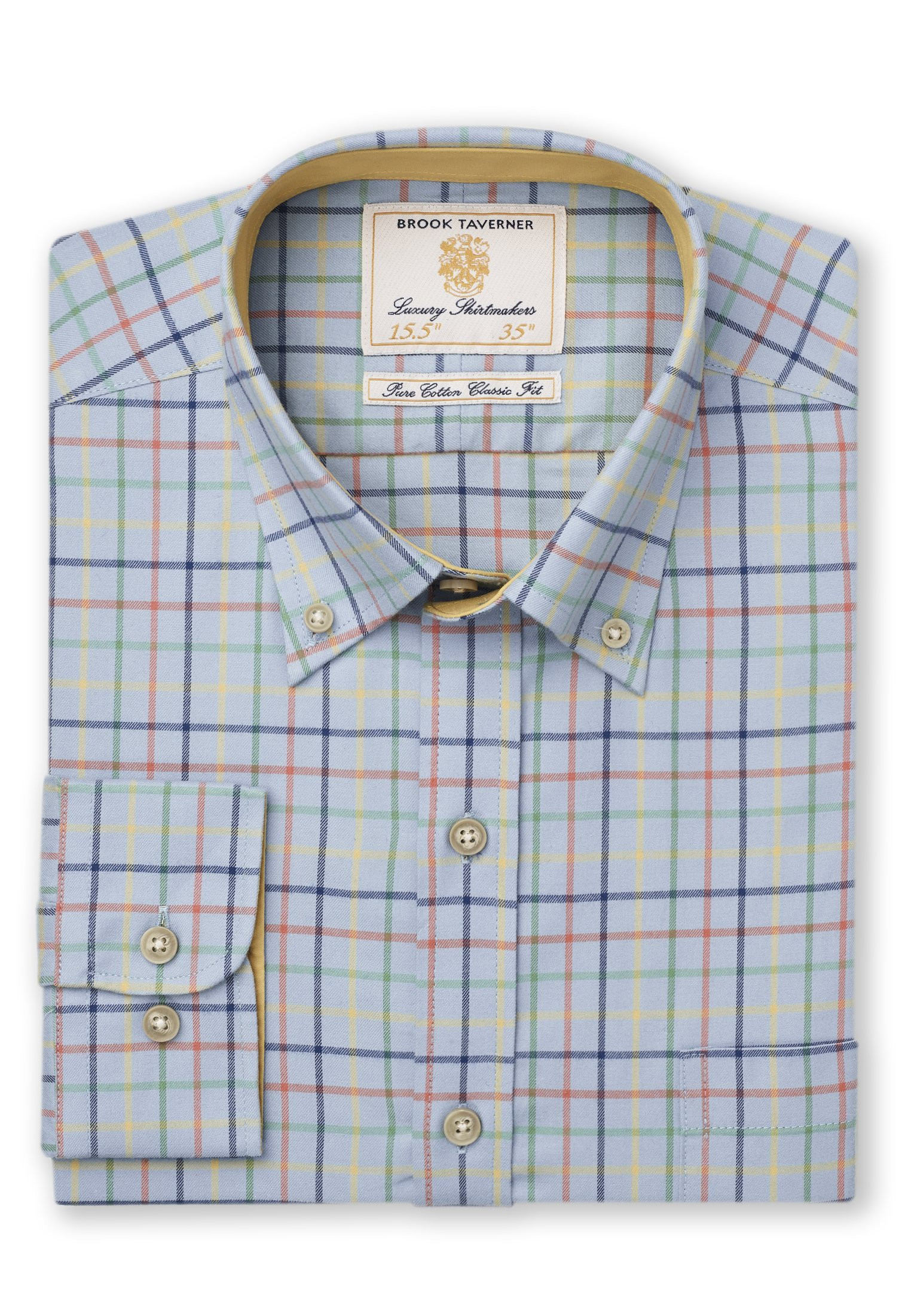 """33.5"""" Sleeve Blue With Navy, Yellow, Orange And Moss Check Single Cuff Shirt"""