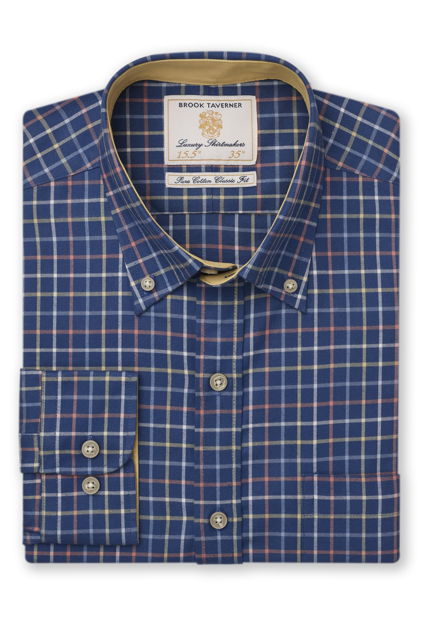 Short, Regular And Long Sleeve Navy With Blue, White, Yellow and Orange Check Single Cuff Shirt