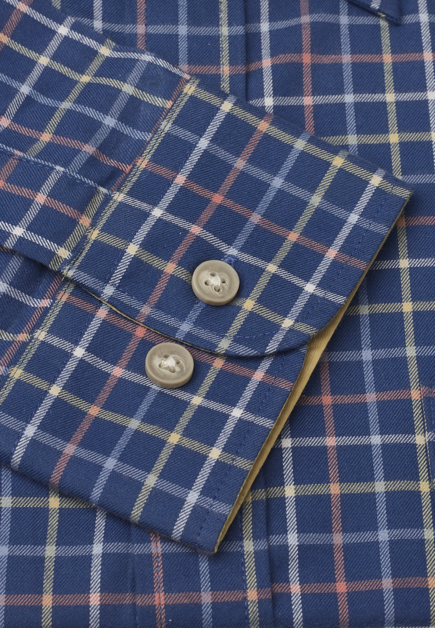 "36.5"" Sleeve Navy With Blue, White, Yellow and Orange Check Single Cuff Shirt"