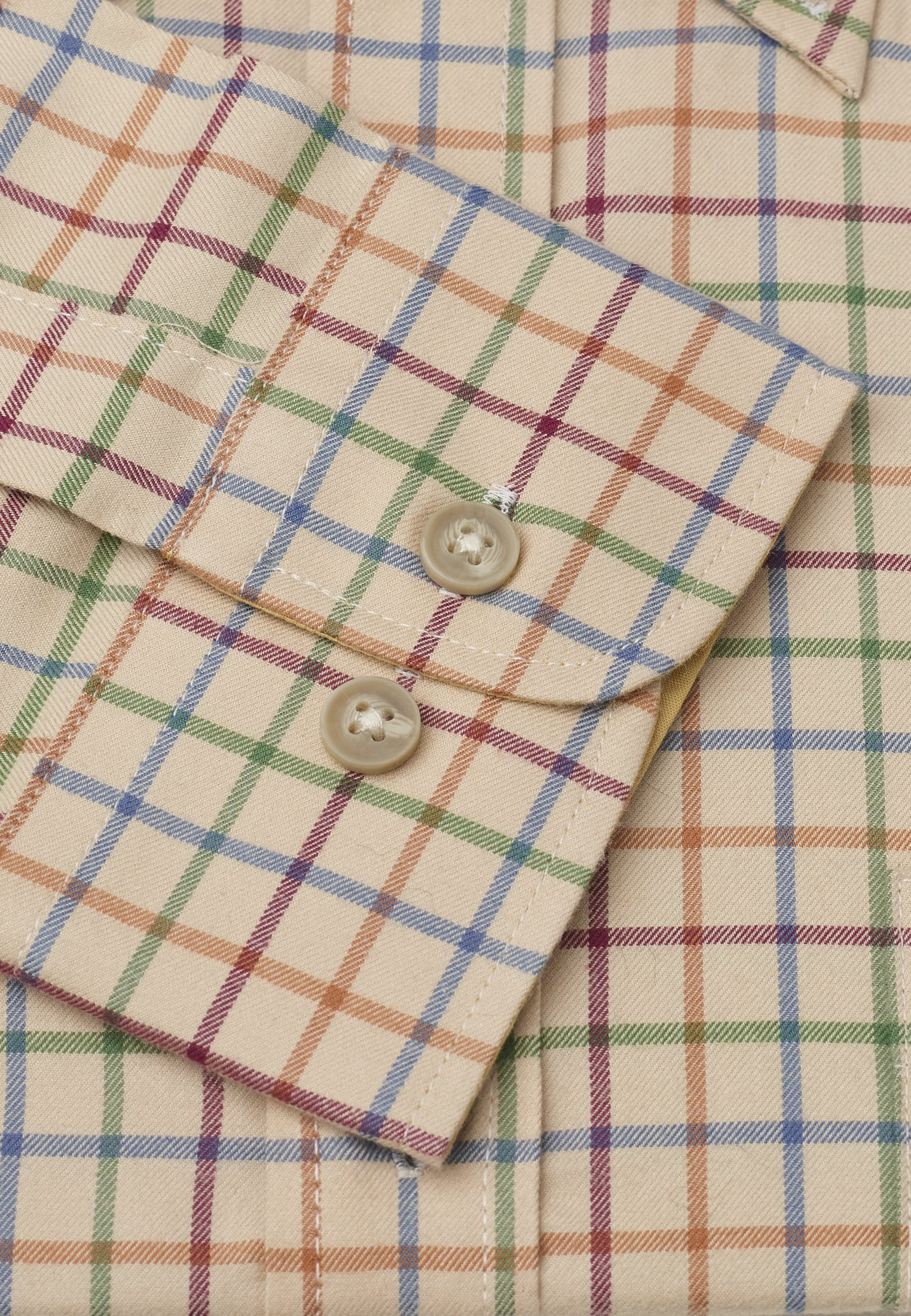 Short, Regular And Long Sleeve Corn With Blue, Green, Orange and Wine Check Single Cuff Shirt