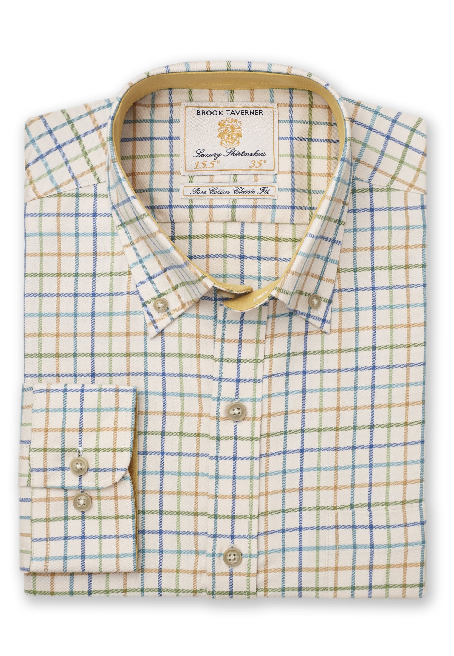 Short, Regular And Long Sleeve Cream With Blue, Turquoise and Mustard Check Single Cuff Shirt