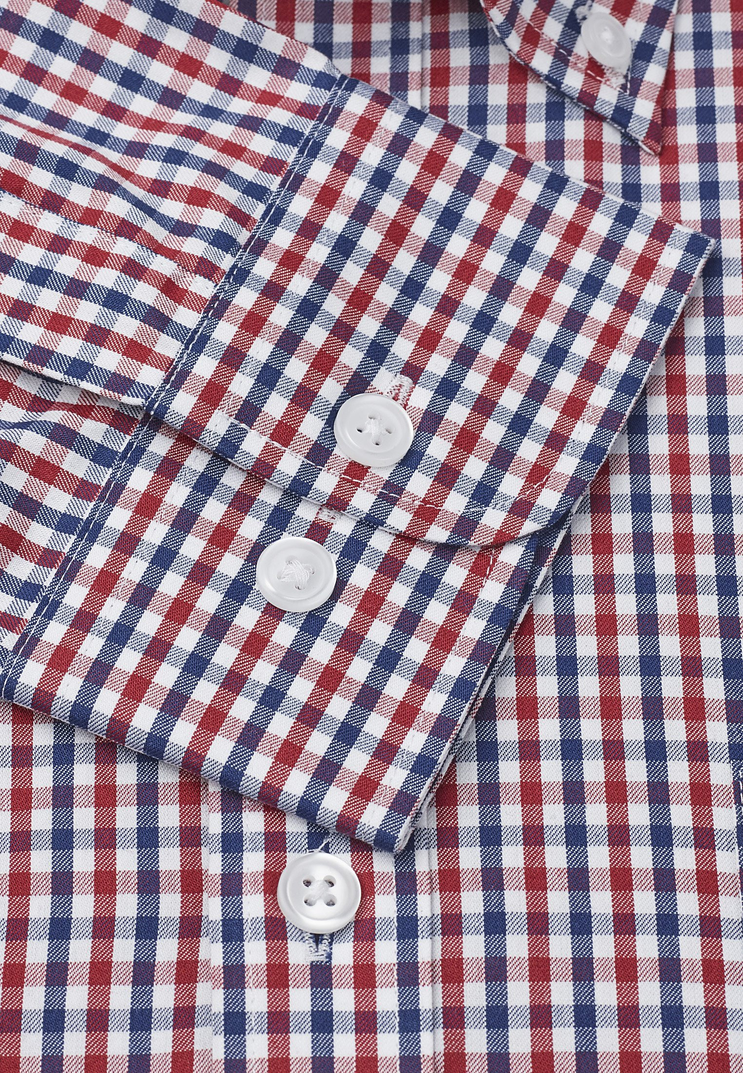 Red And Navy Check Long Sleeve Single Cuff Shirt