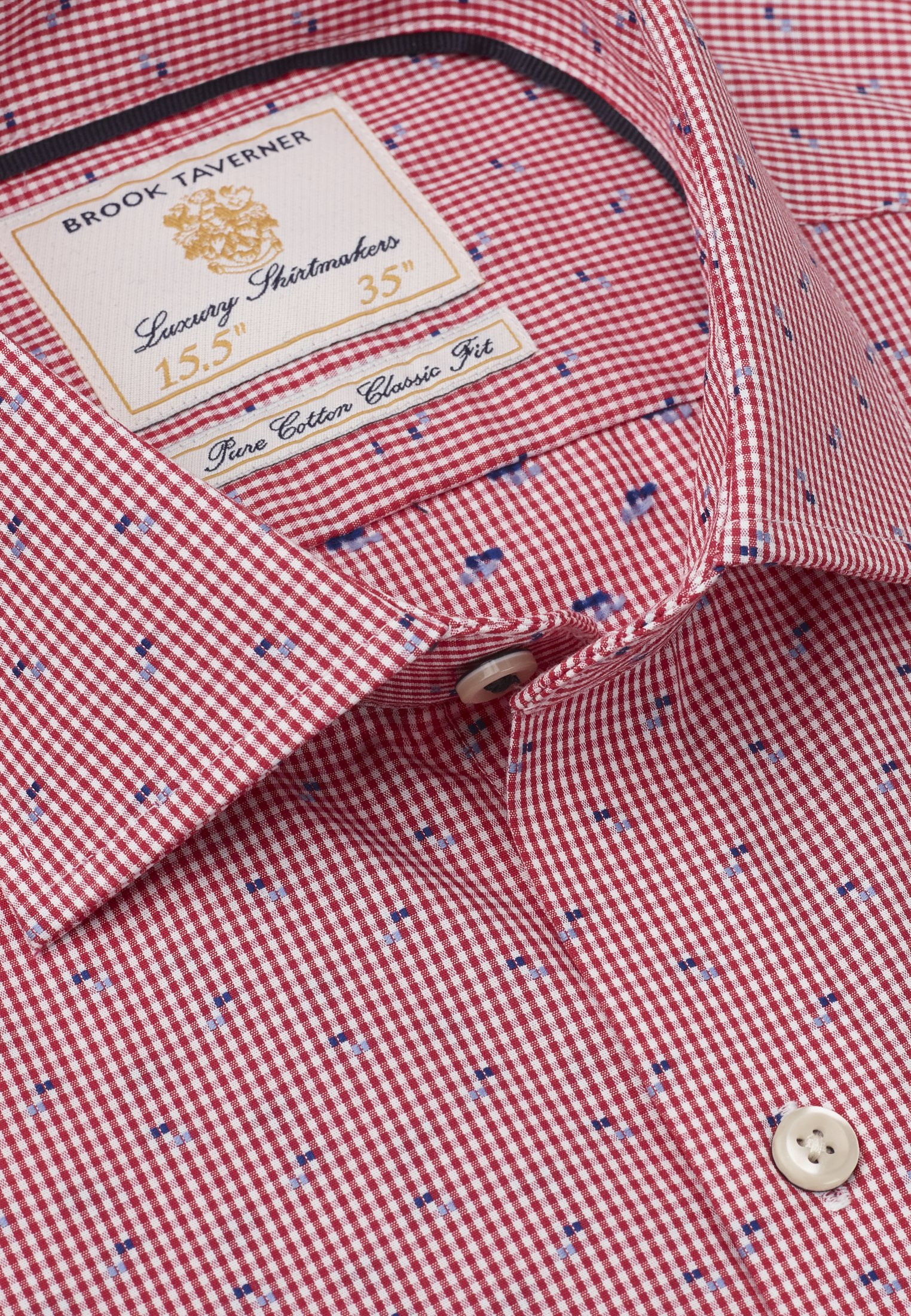 Tailored Fit Red Micro Check With Navy And Blue Square Cuff Shirt