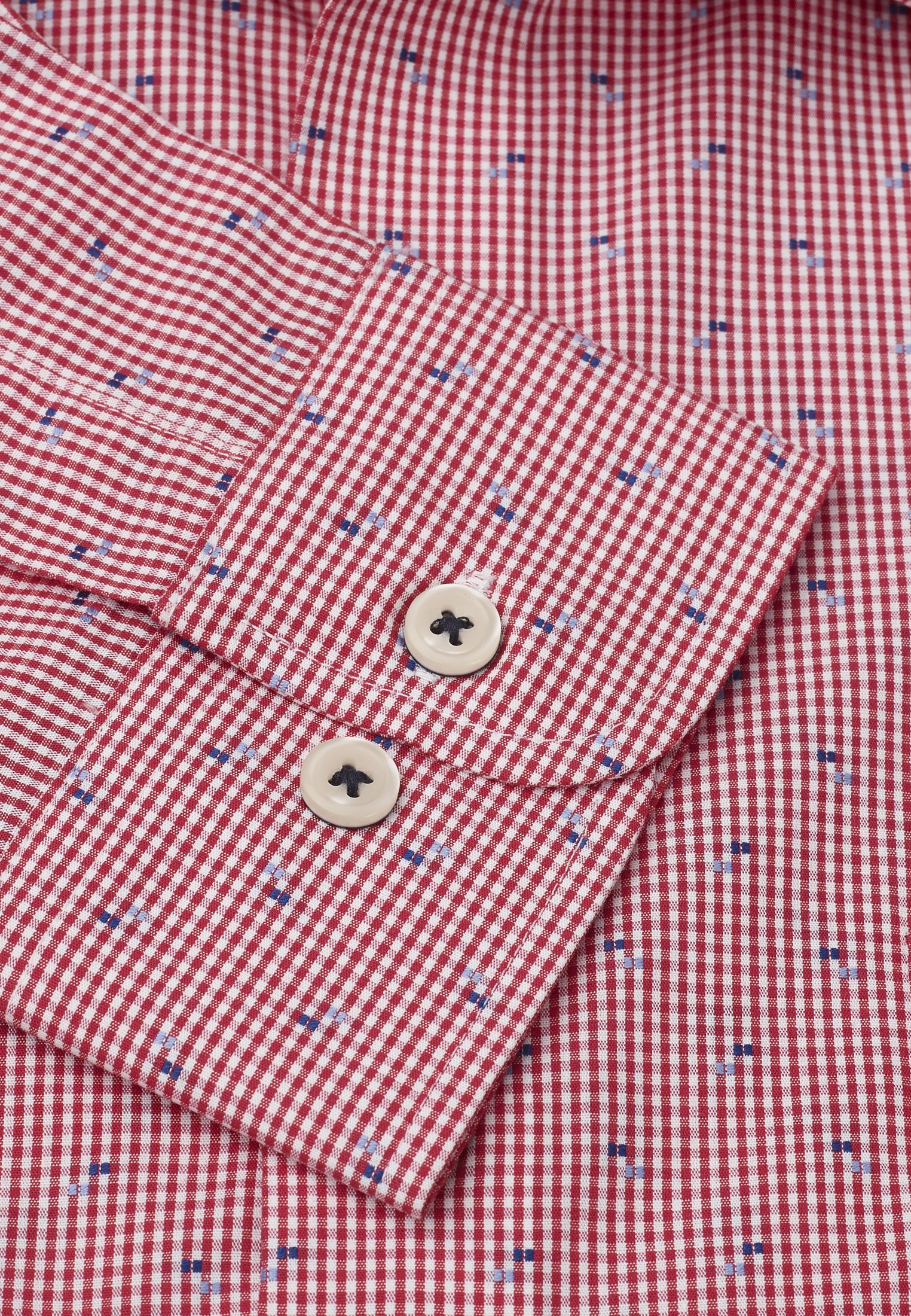 Classic And Tailored Fit Red Micro Check With Navy And Blue Square Cuff Shirt