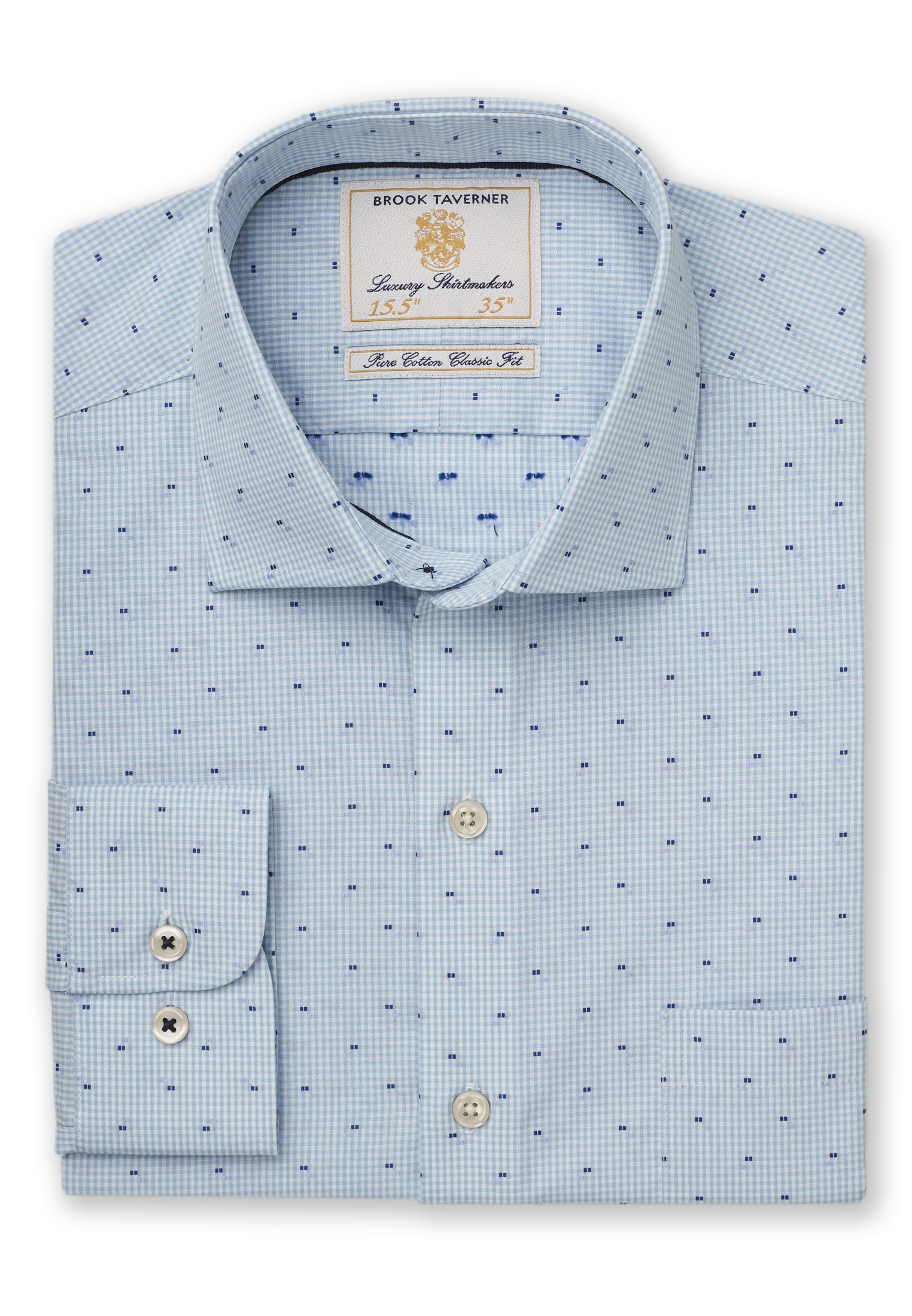 Classic Fit Mint Micro Check with Navy And Blue Square Cuff Shirt