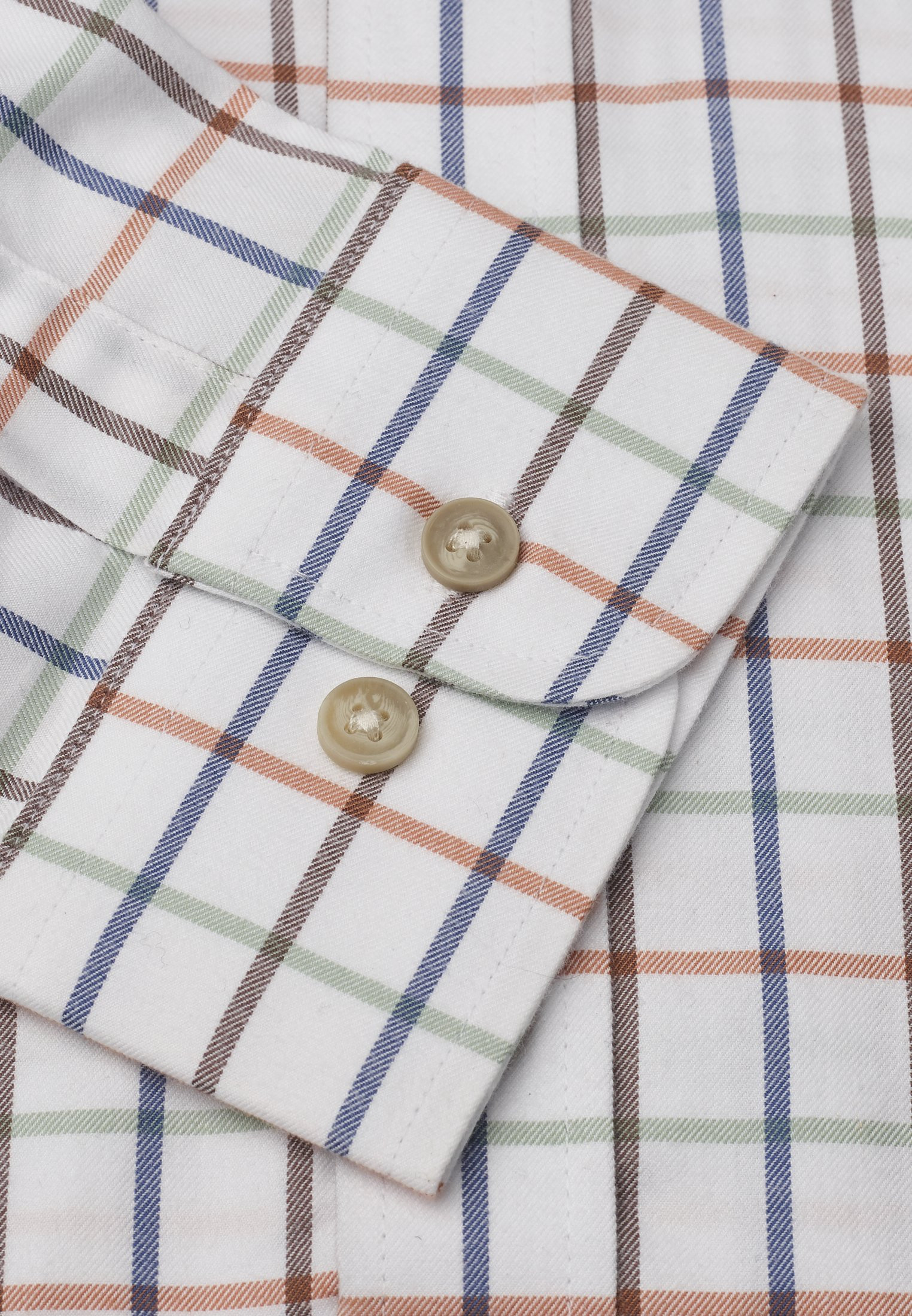 Short, Regular And Long Sleeve Mocca, Navy, Orange and Mint Check Single Cuff Shirt