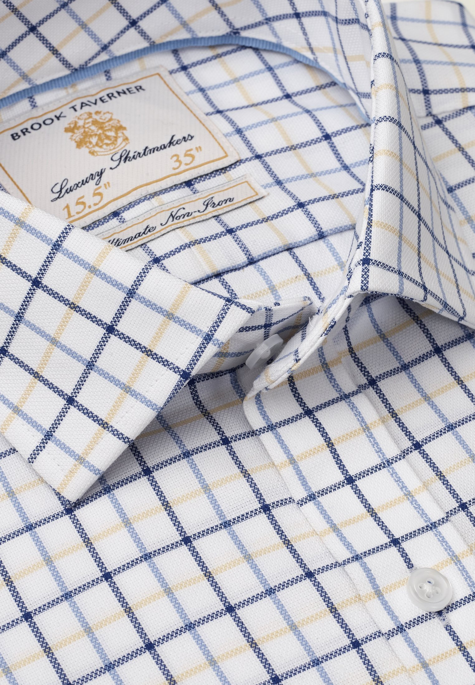 "33.5"" Sleeve White With Navy, Blue And Yellow Check Shirt"