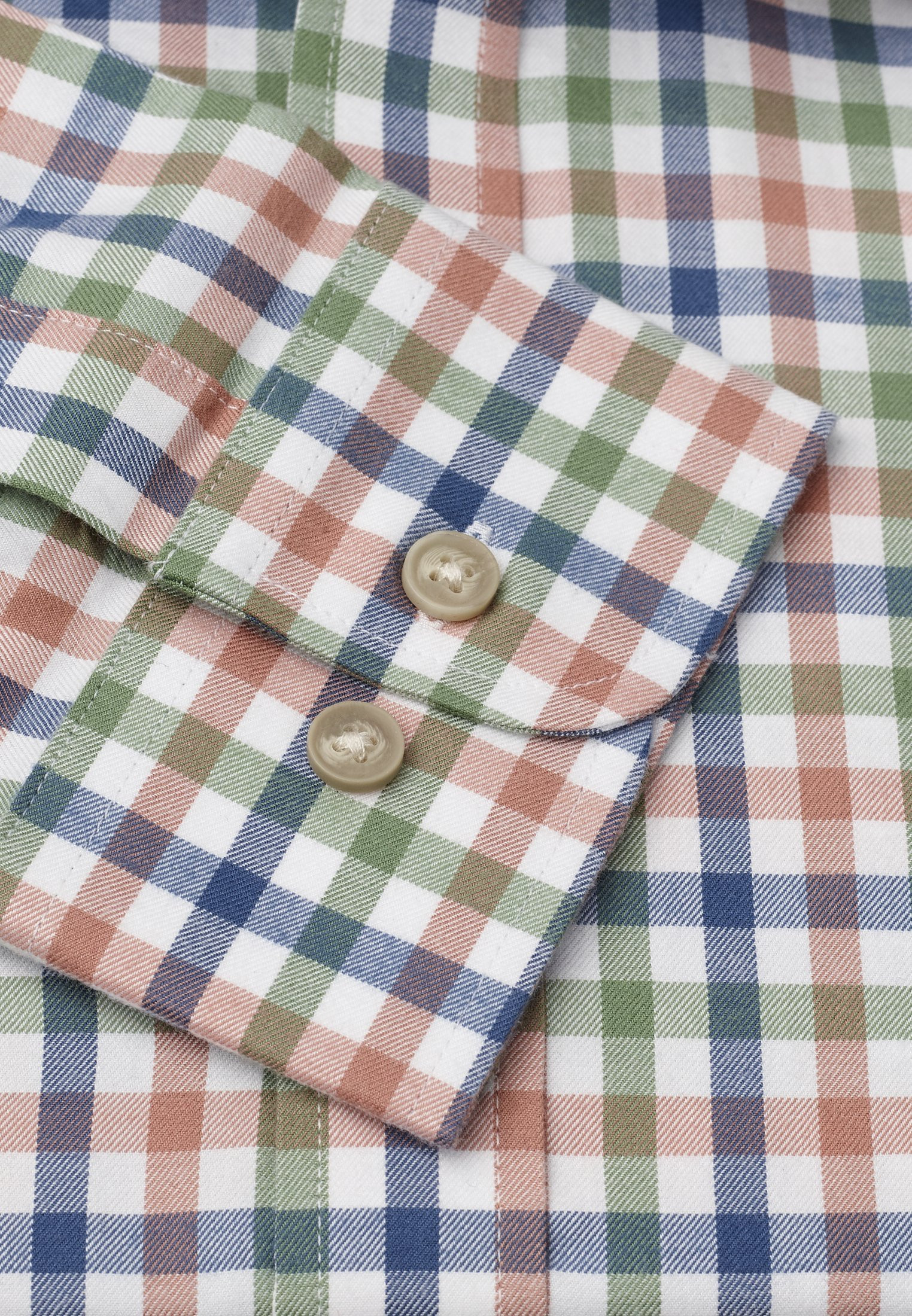 "33.5"" Sleeve Navy, Peach And Moss Check Single Cuff Shirt"