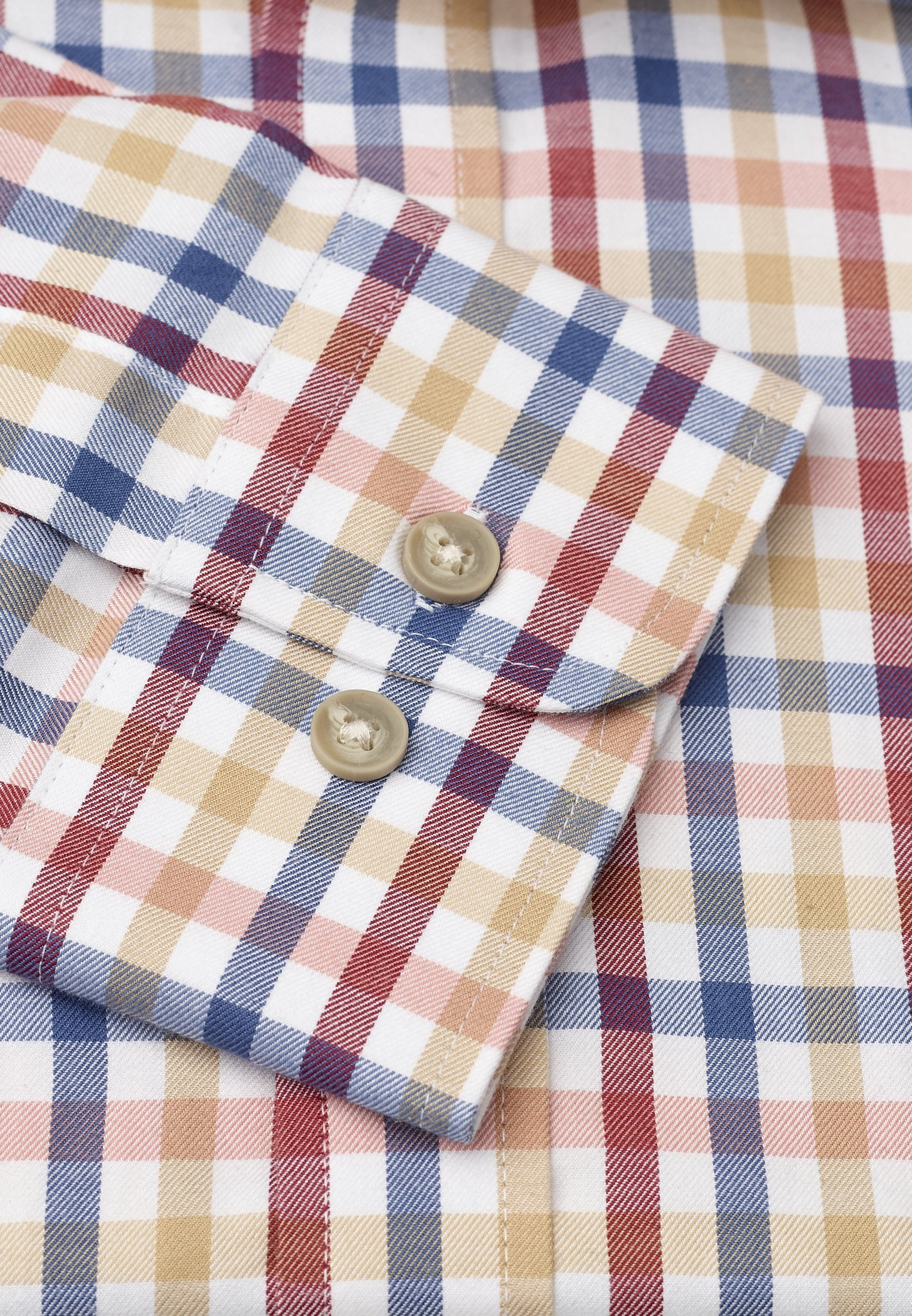 "33.5"" Sleeve Blue, Wine, Orange And Gold Check Single Cuff Shirt"