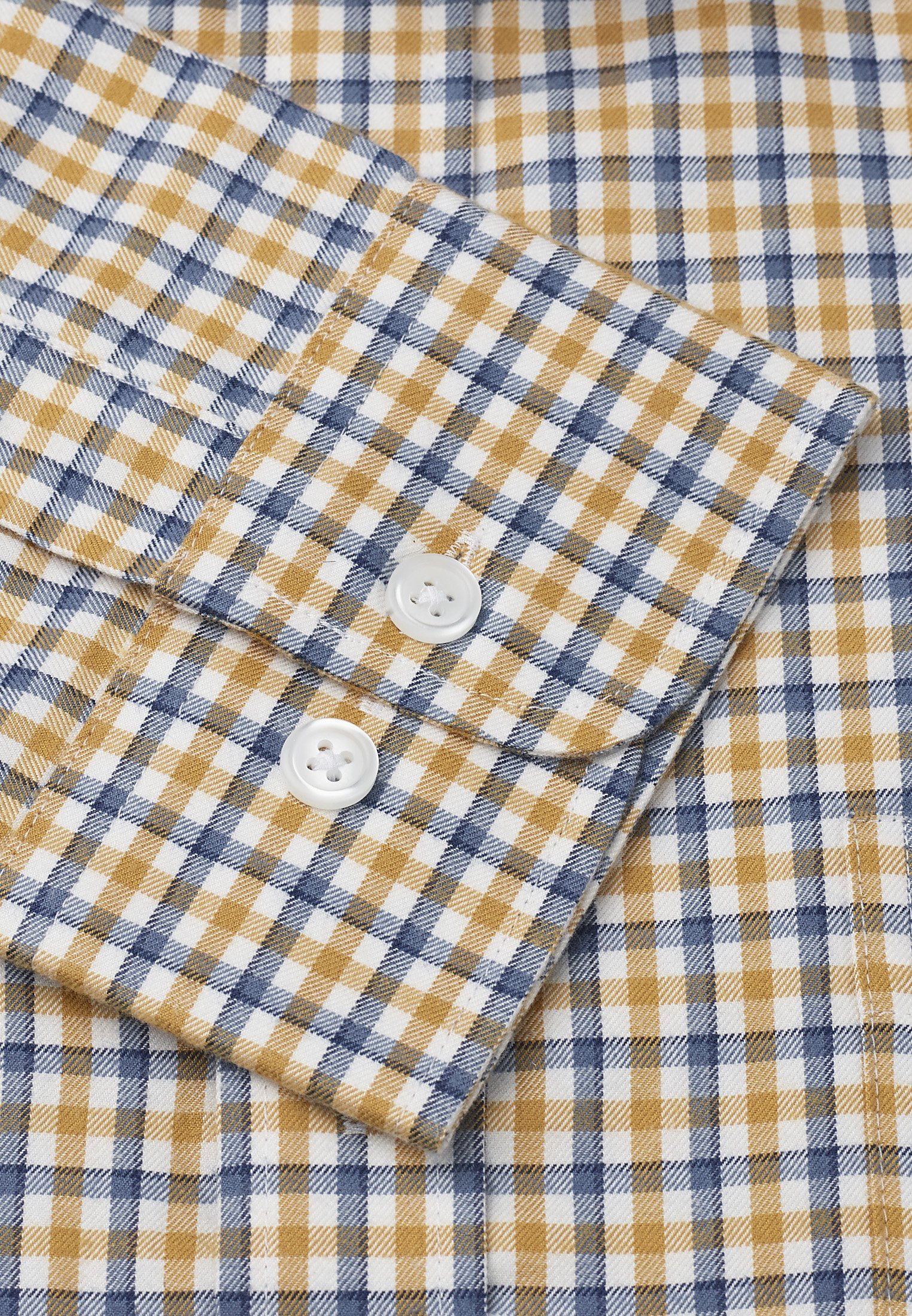 """36.5"""" Sleeve Navy And Gold Check Single Cuff Shirt"""