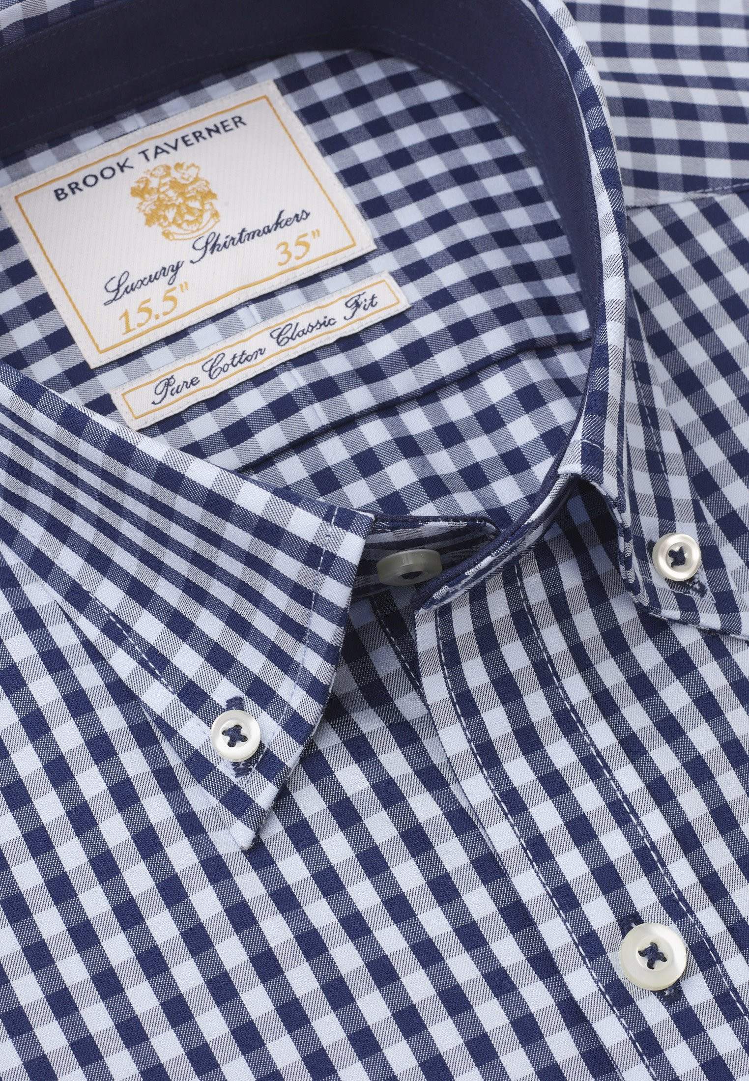 Classic Fit Navy and Blue Gingham Shirt
