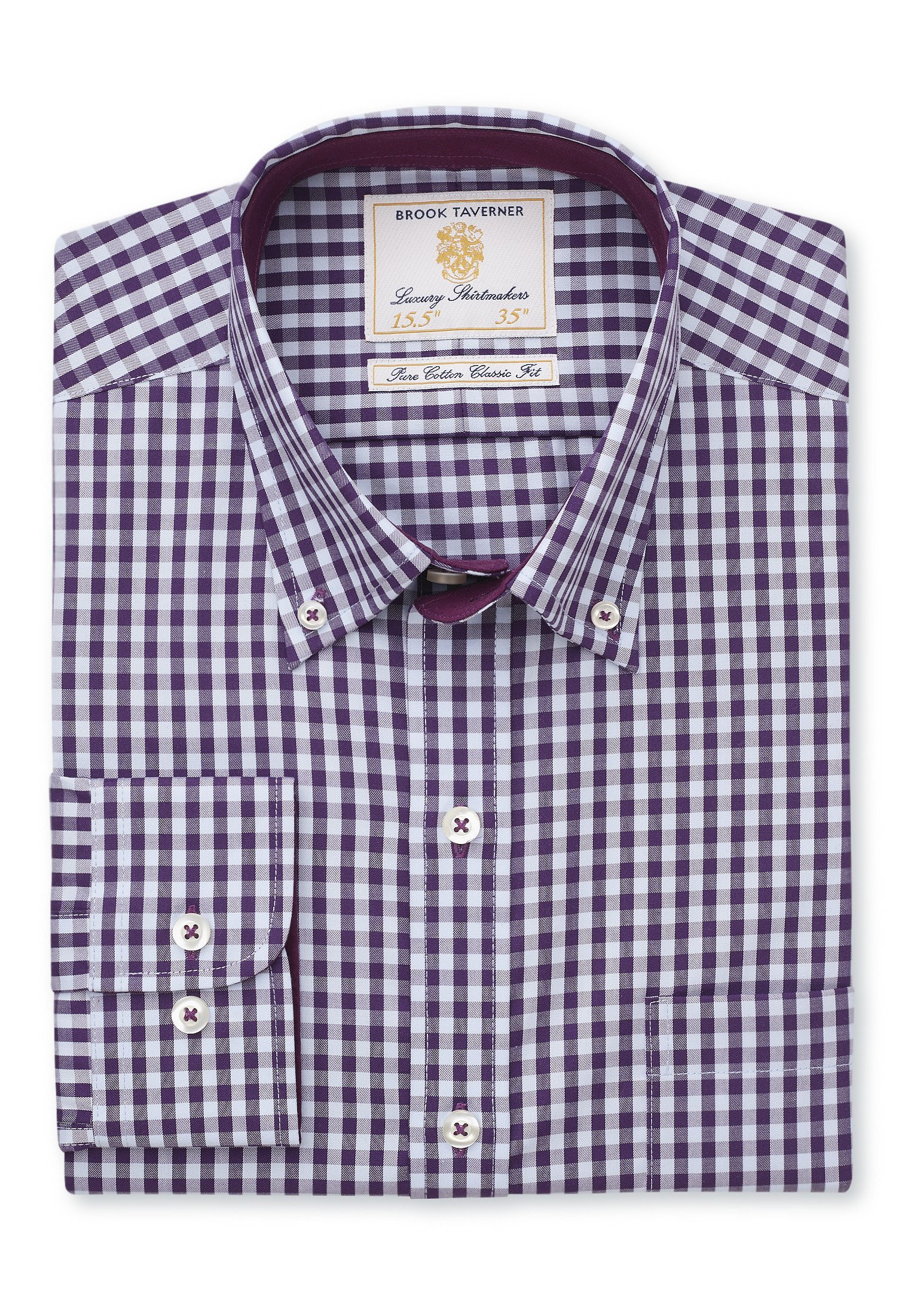 Tailored Fit Purple and Blue Gingham Shirt