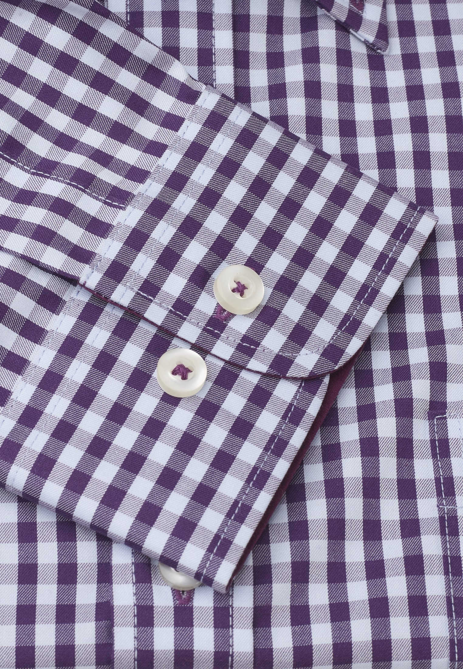 Classic Fit Purple and Blue Gingham Shirt