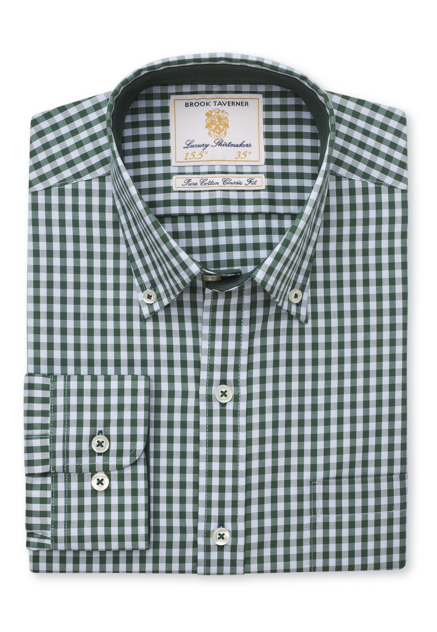Classic and Tailored Fit Forest Gingham Shirt