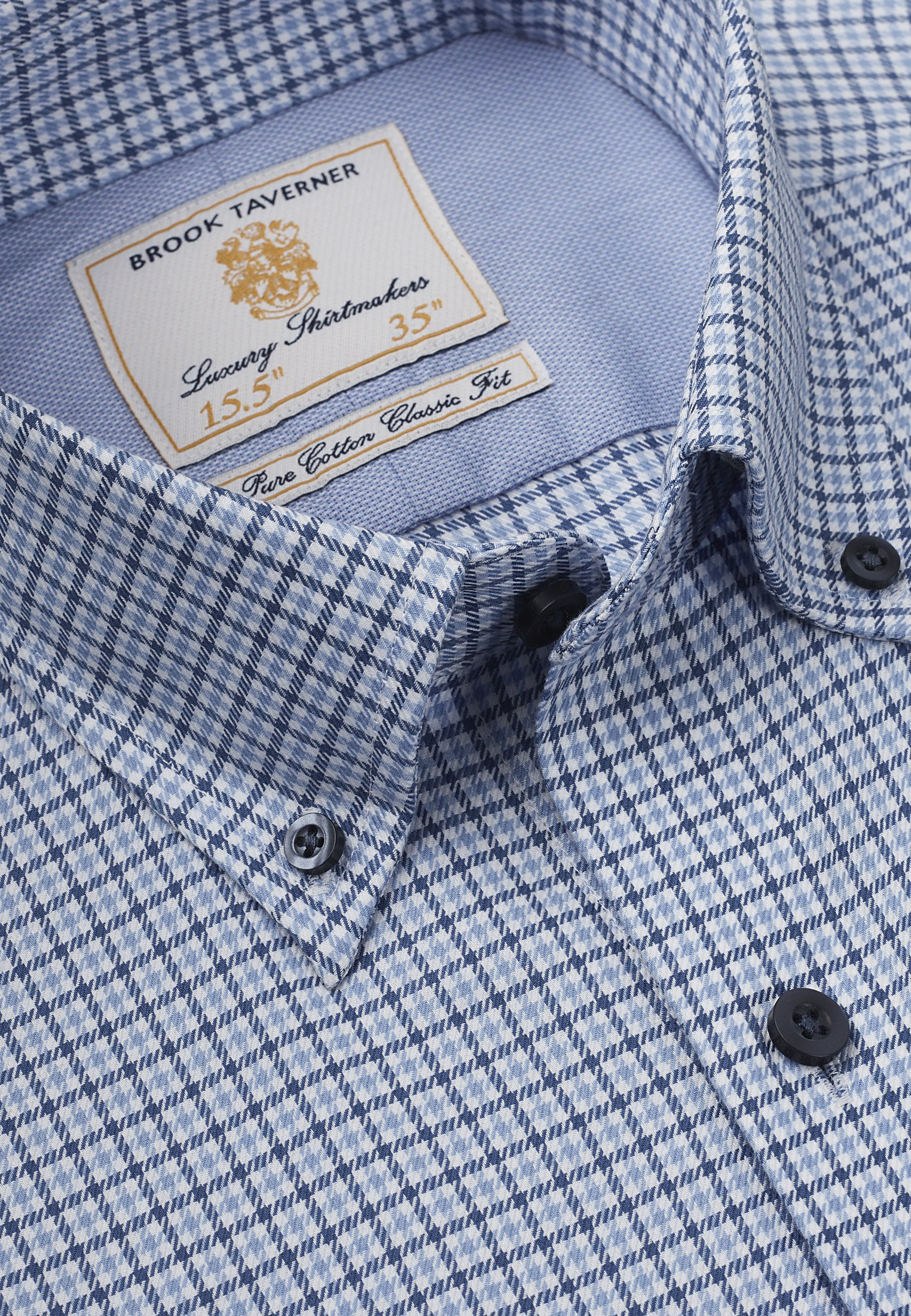 Navy And Blue Twill Check Button Down Collar Single Cuff Shirt