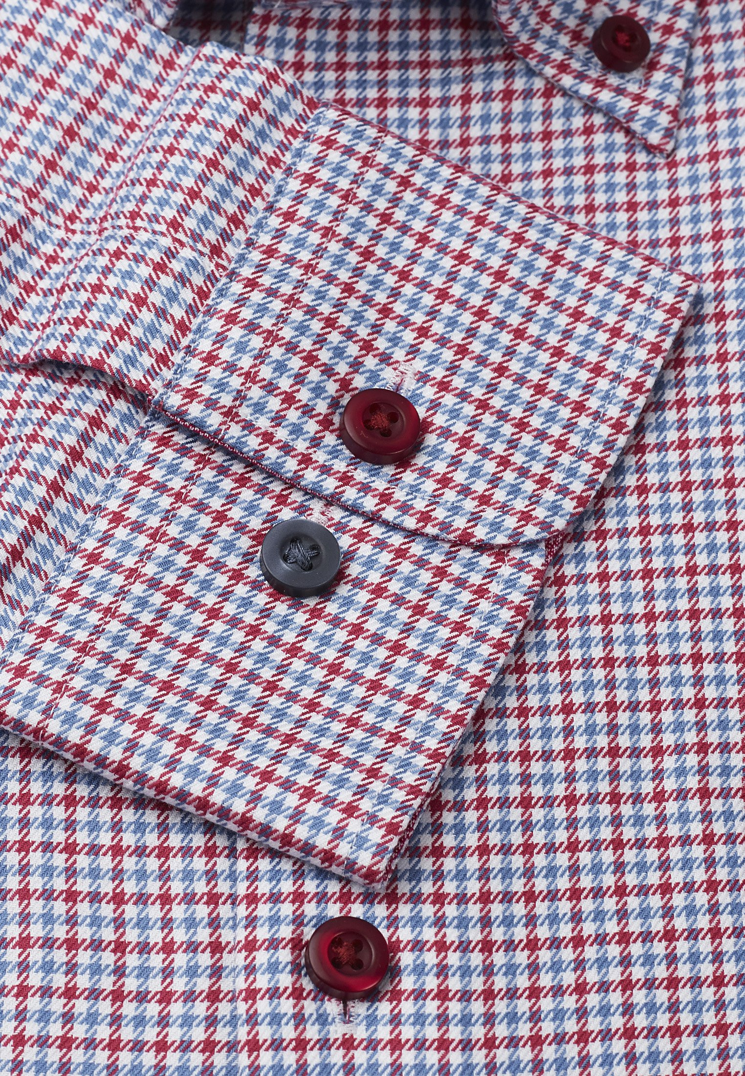 Red And Blue Twill Check Button Down Collar Single Cuff Shirt