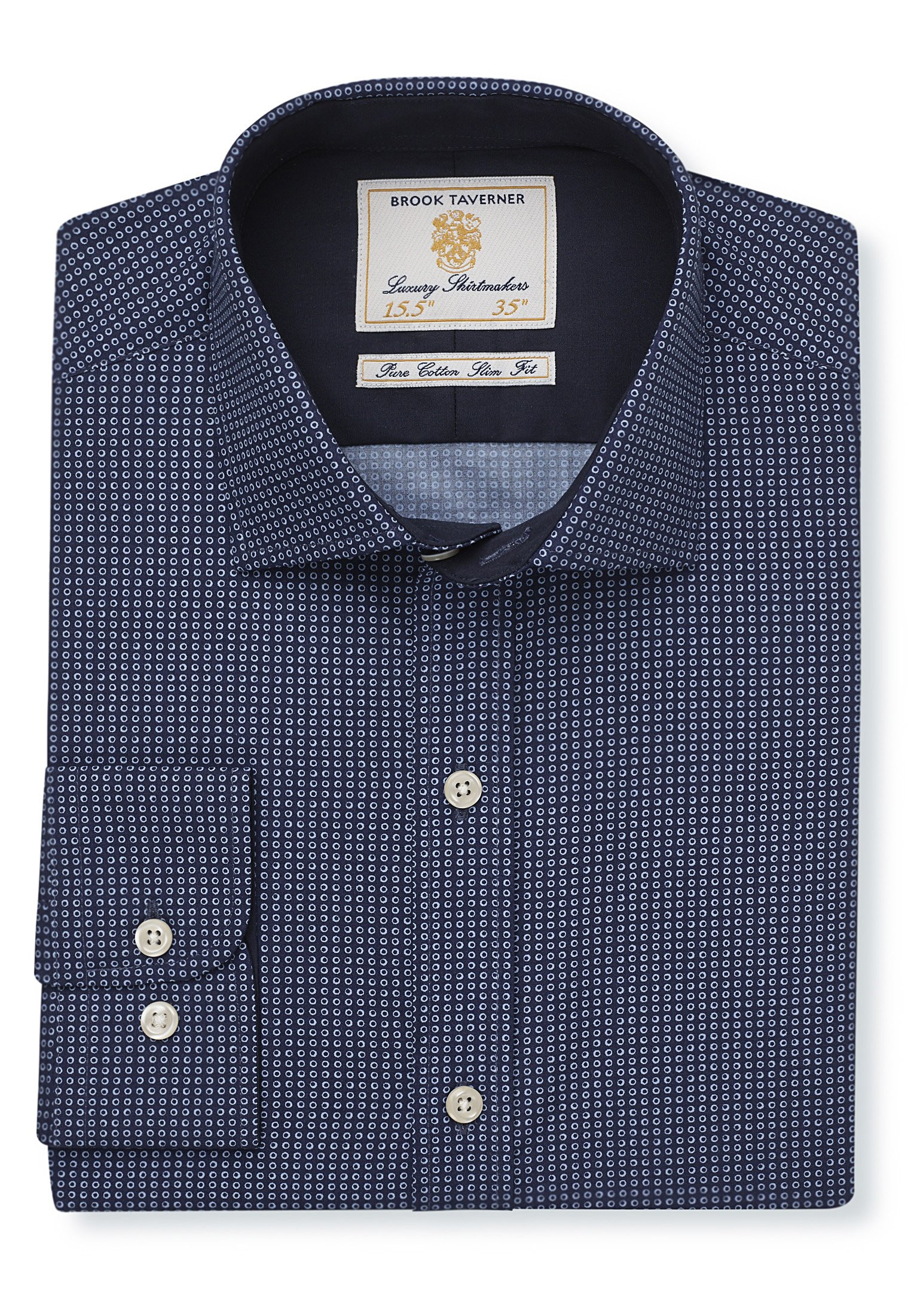 Tailored Fit Navy With Blue Circles Single Cuff Shirt