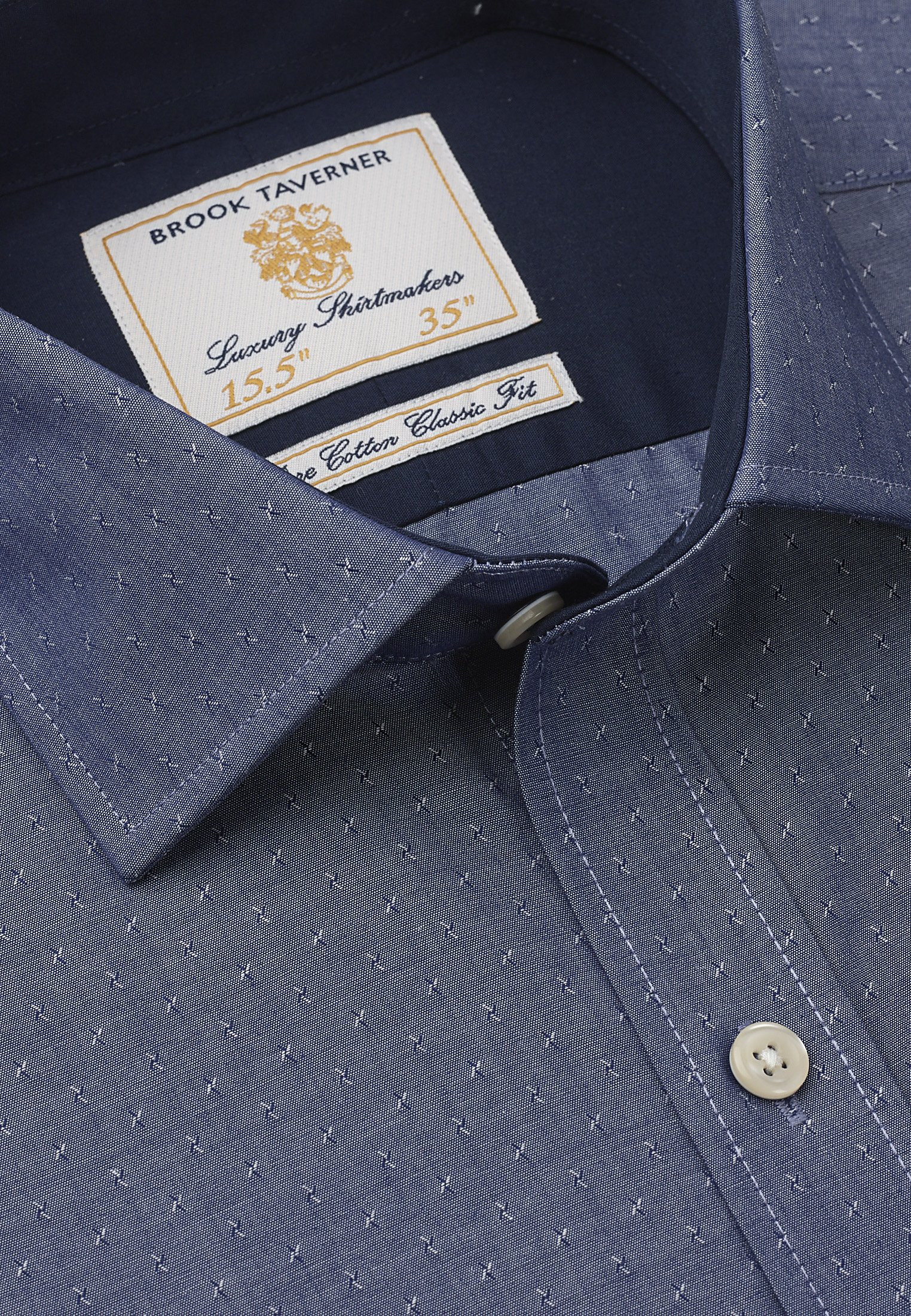 Tailored Fit Blue And Grey Pattern Single Cuff Shirt
