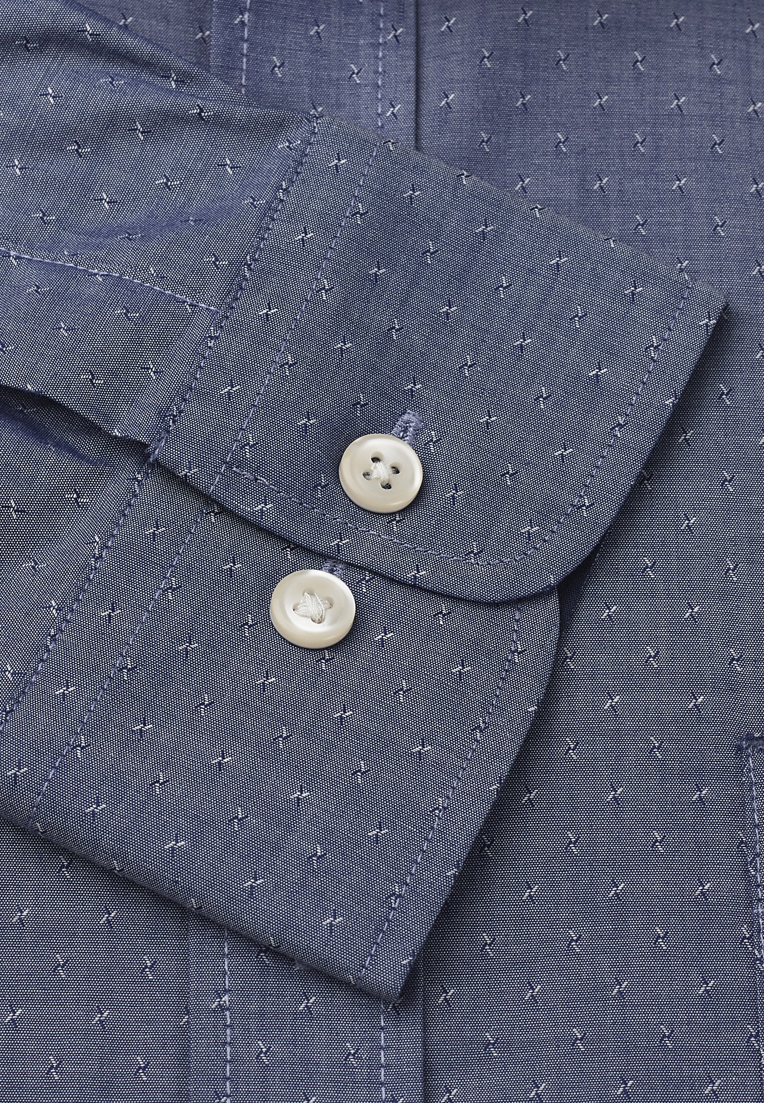 Classic And Tailored Fit Blue And Grey Pattern Single Cuff Shirt