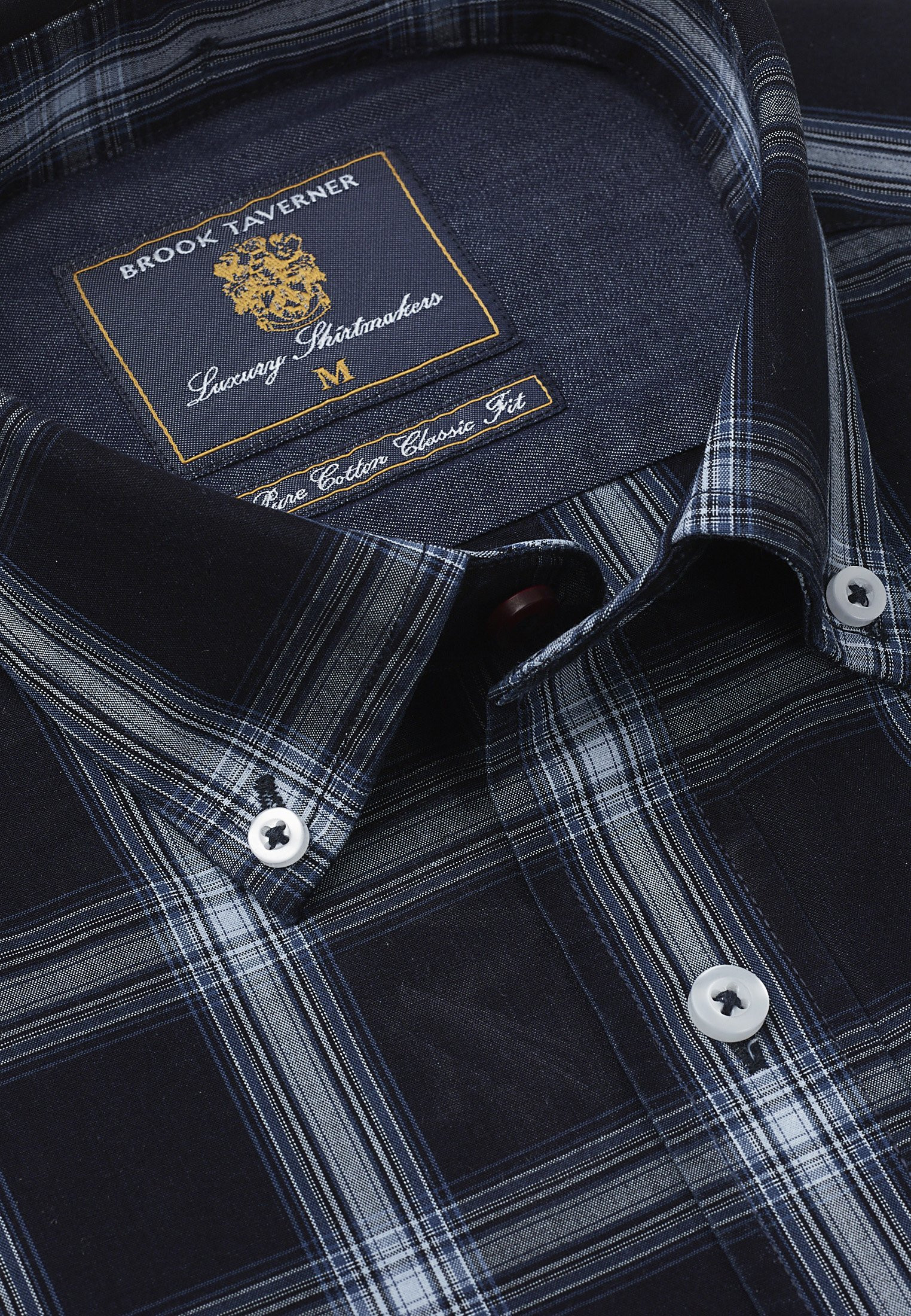 Tailored Fit Navy And Blue Check Button Down Collar Single Cuff Shirt