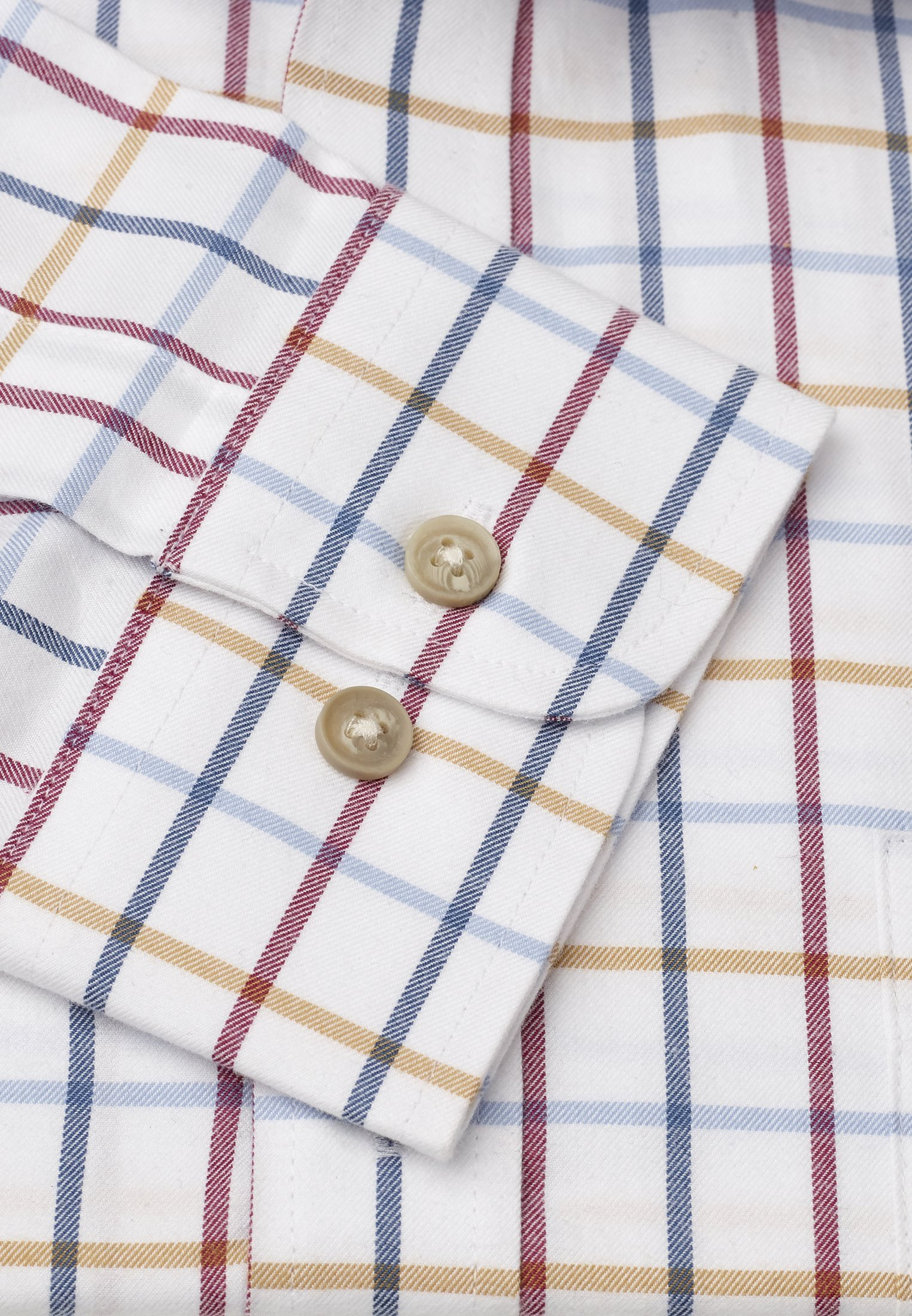 "33.5"" Sleeve Navy, Red, Blue And Mustard Check Single Cuff Shirt"