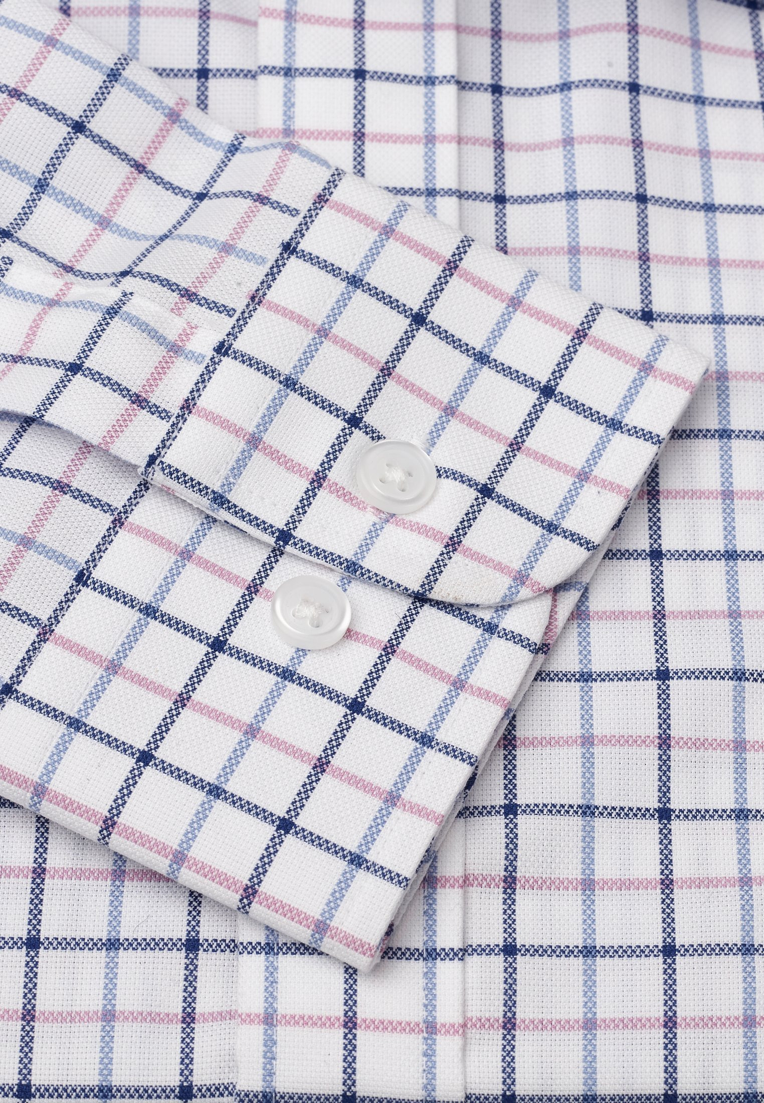 "35"" Sleeve Navy, Blue And Pink Check Shirt"