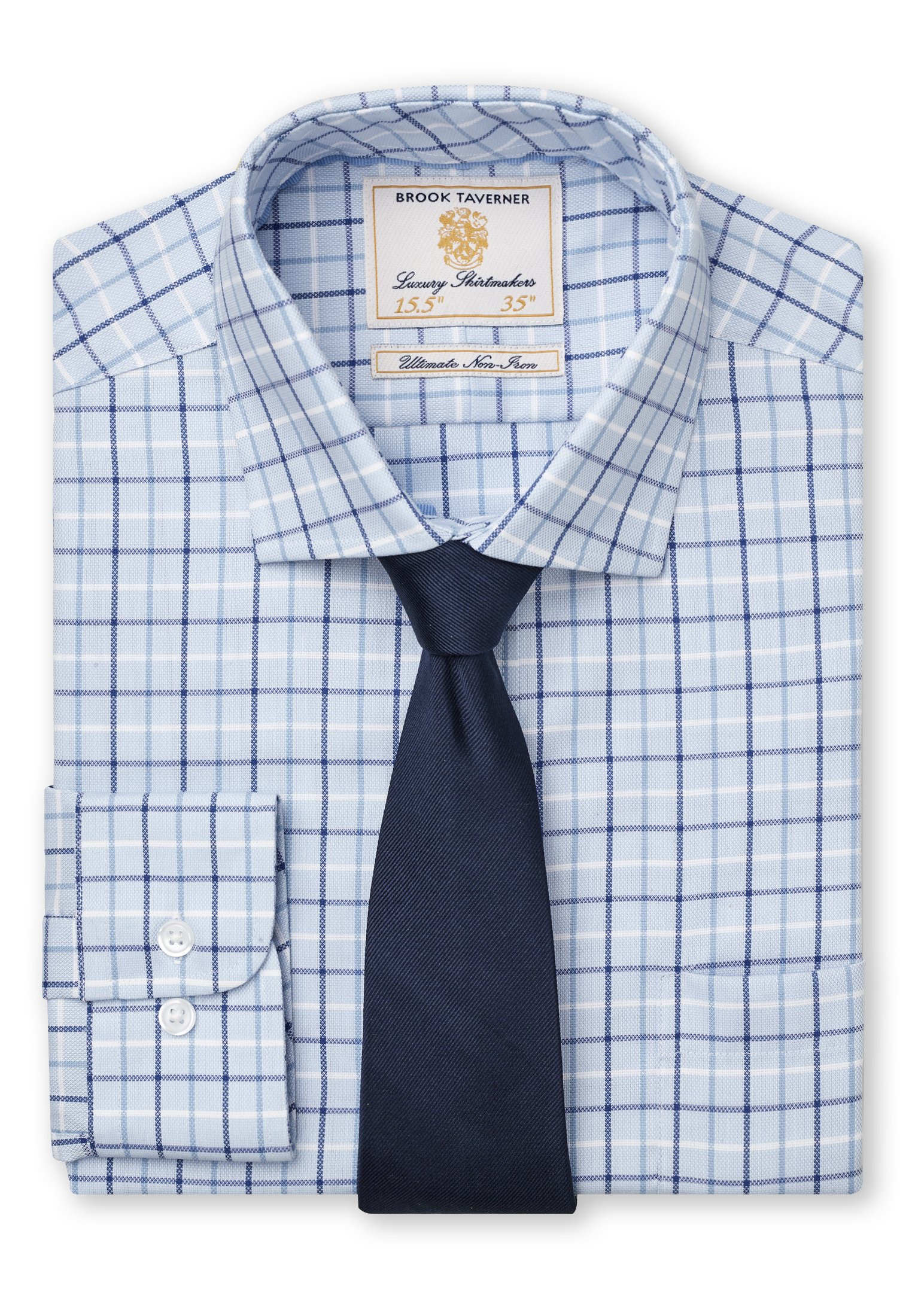 Navy, Blue And White Check Shirt
