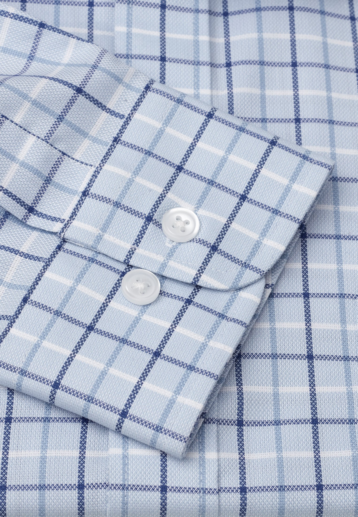 """33.5"""" Sleeve Navy, Blue And White Check Shirt"""